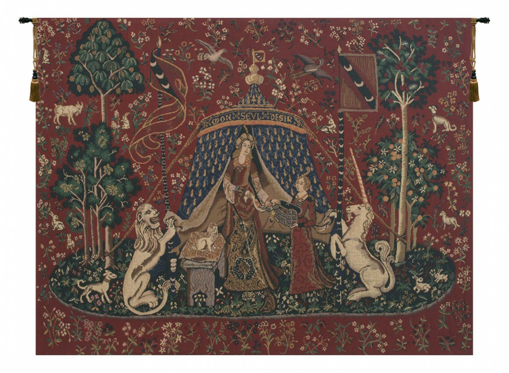 Lady And The Unicorn Wall Hanging Pertaining To Latest Blended Fabric Godfrey Of Bouillon Wall Hangings (View 2 of 20)