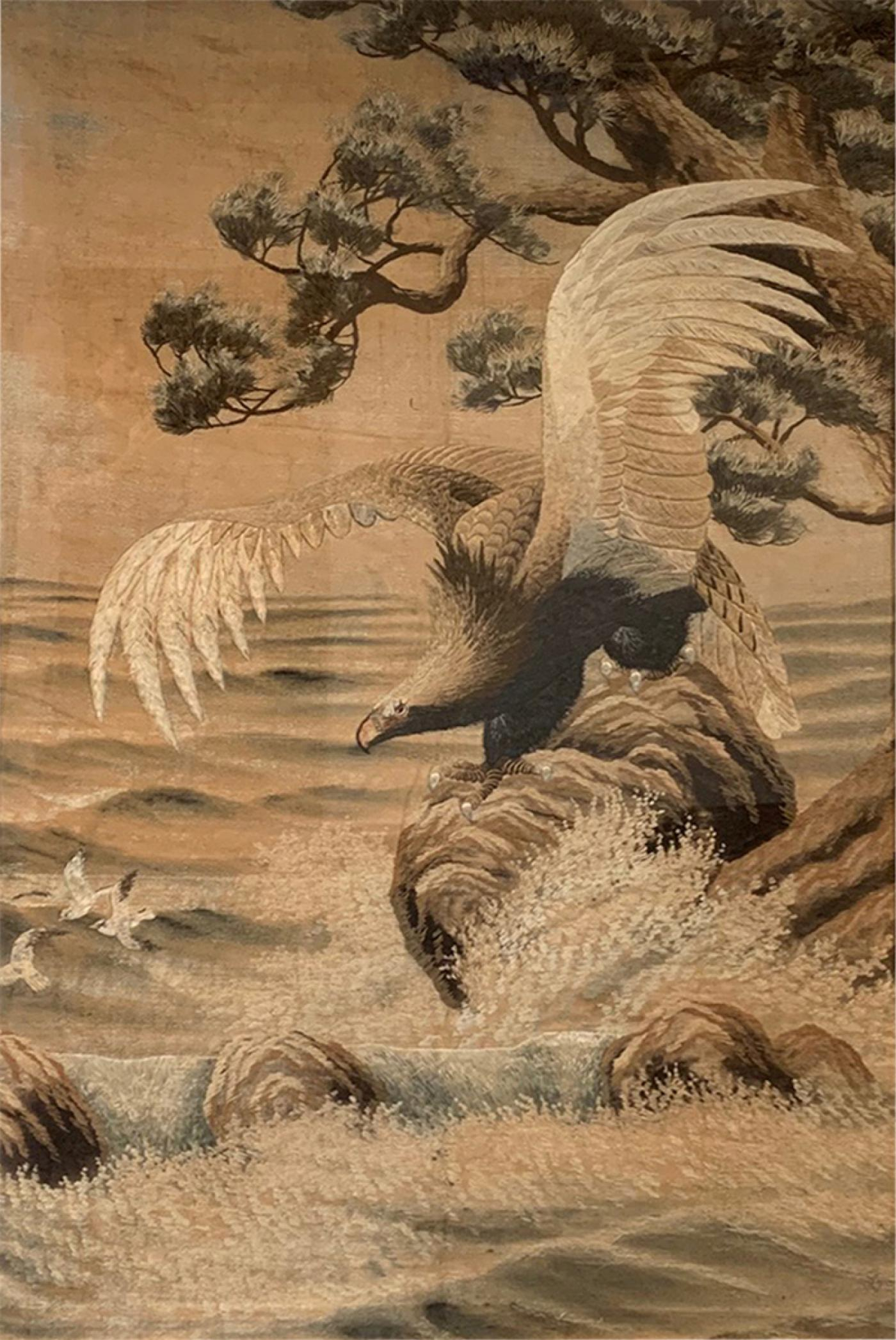 Large Framed Japanese Embroidery Tapestry For 2017 Blended Fabric Pheasant And Doe European Tapestries Wall Hangings (View 11 of 20)