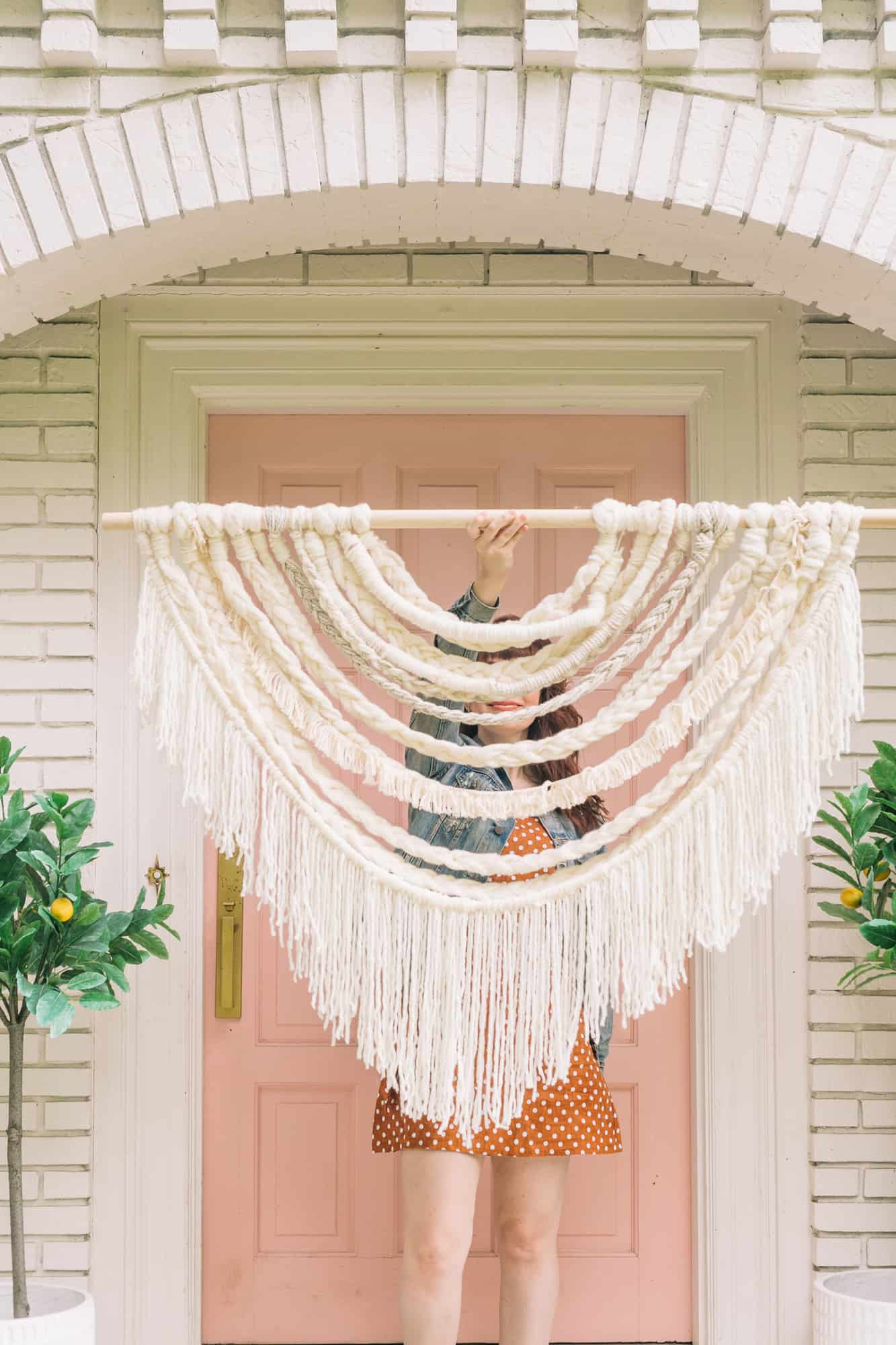 Large Scale Braided Wall Hanging Diy – A Beautiful Mess Regarding Most Up To Date Blended Fabric Hello Beauty Full Wall Hangings (View 16 of 20)