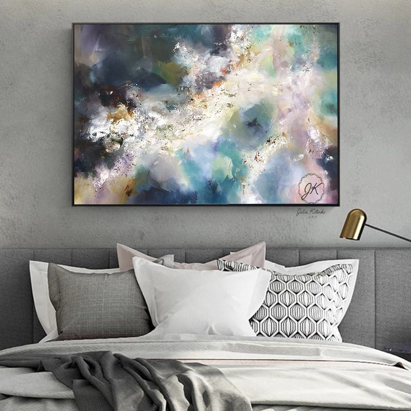 Large Wall Art Bedroom Above Bed Abstract Oil Painting Intended For Newest Blended Fabric Italian Wall Hangings (View 14 of 20)