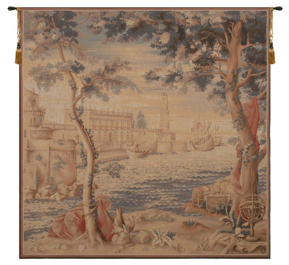 Le Port French Tapestry, A – H 58 X W 58 Inside Latest European Le Point Deau Flamant Rose Tapestries (View 3 of 20)