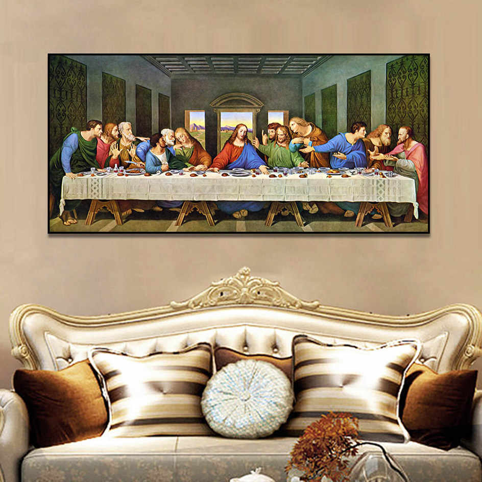 Leonardo Da Vinci Last Supper Christian Posters And Prints Regarding Best And Newest Blended Fabric Leonardo Davinci The Last Supper Wall Hangings (View 8 of 20)