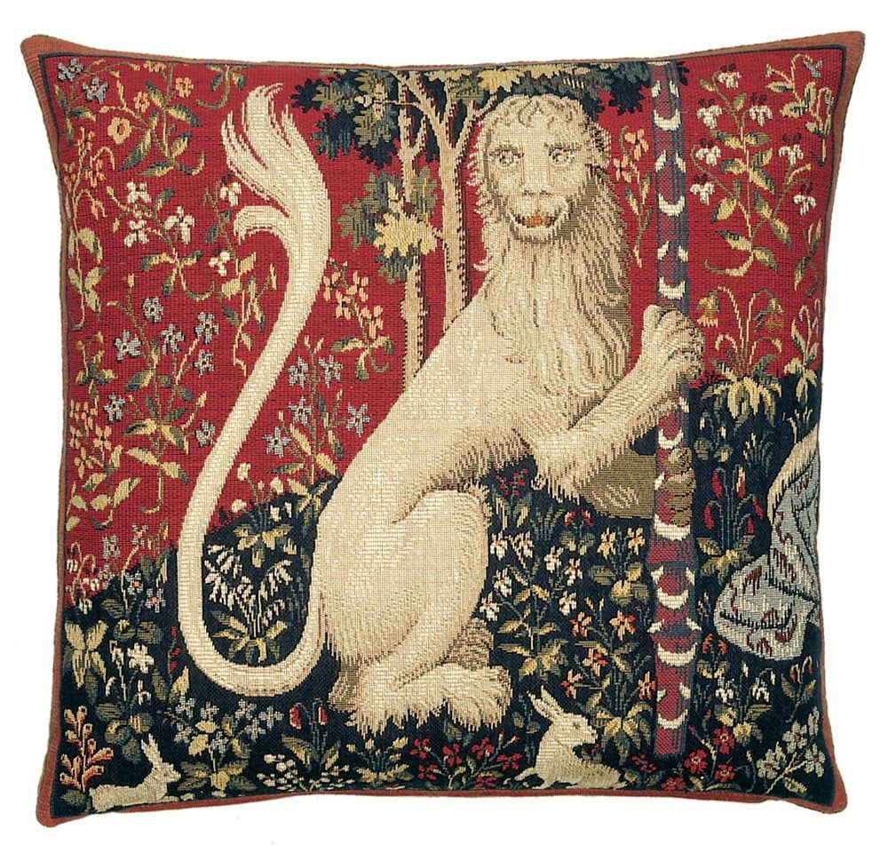 Lion & Unicorn European Cushion | Tapestry Cushion, Lion Pertaining To Recent Lion I European Tapestries (View 7 of 20)