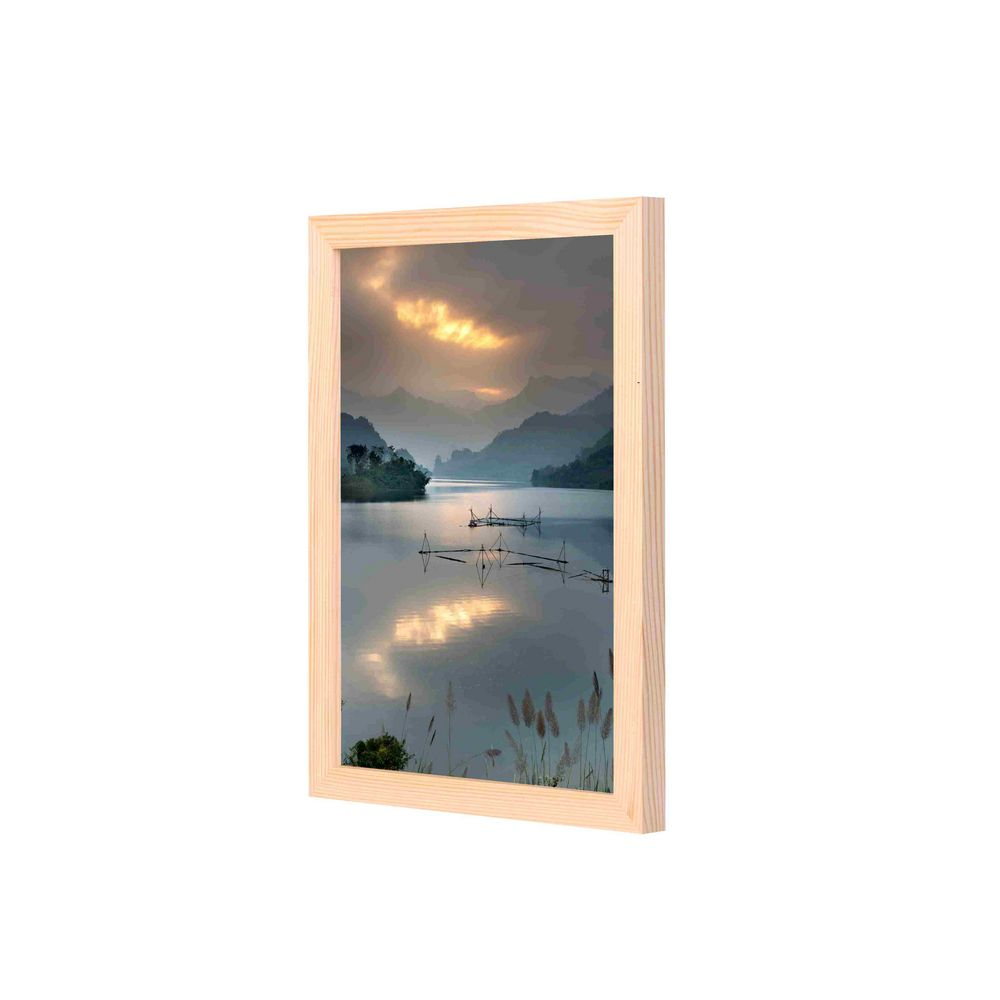 Lowha Body Of Water Under Sunset Wall Art With Pan Wood Framedlowha Throughout Latest Blended Fabric Lago Di Como Ii Wall Hangings (View 5 of 20)