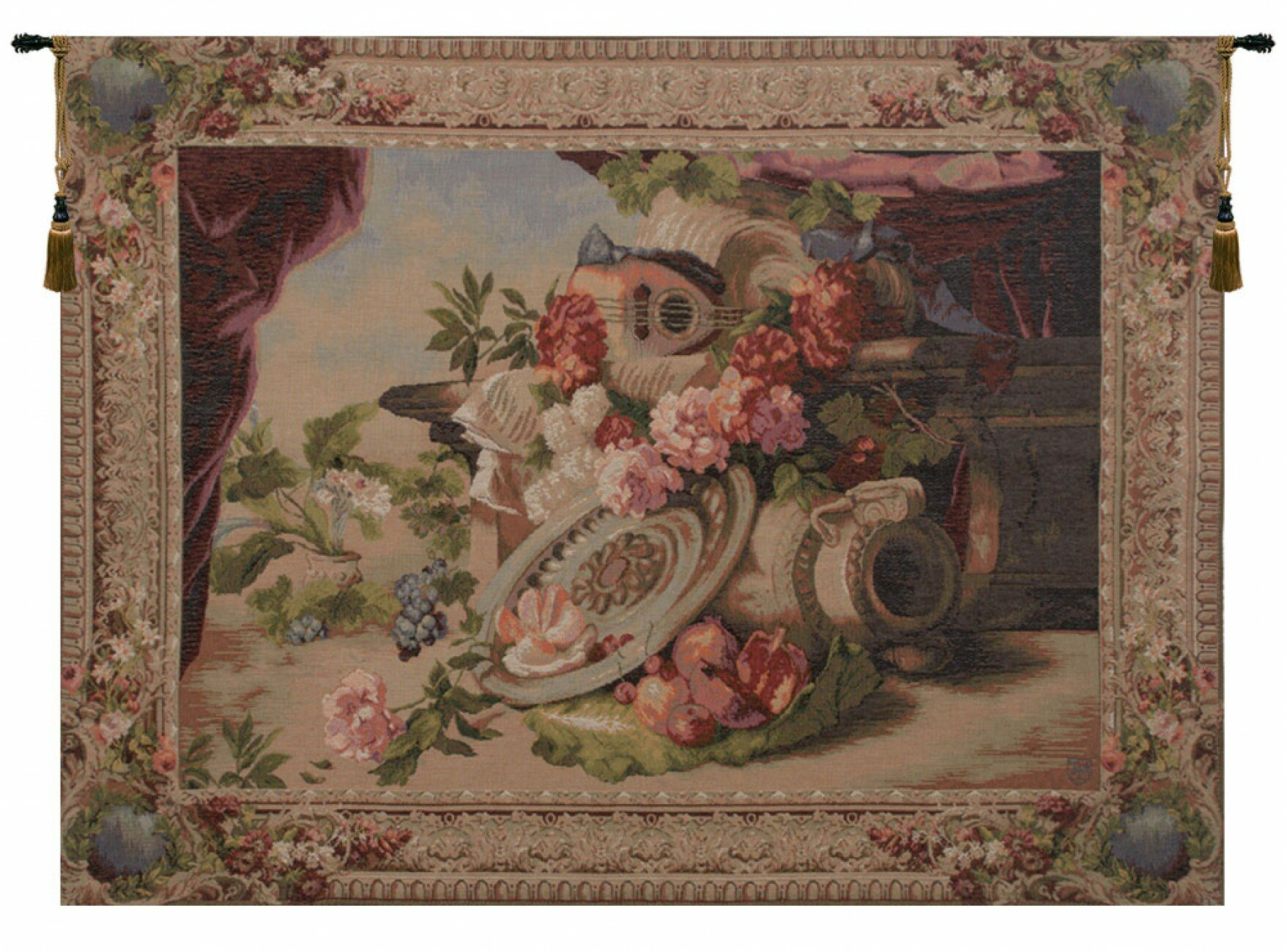 Mandolin European Tapestry Pertaining To Most Recent Blended Fabric Ethereal Days Chinoiserie Wall Hangings With Rod (View 17 of 20)