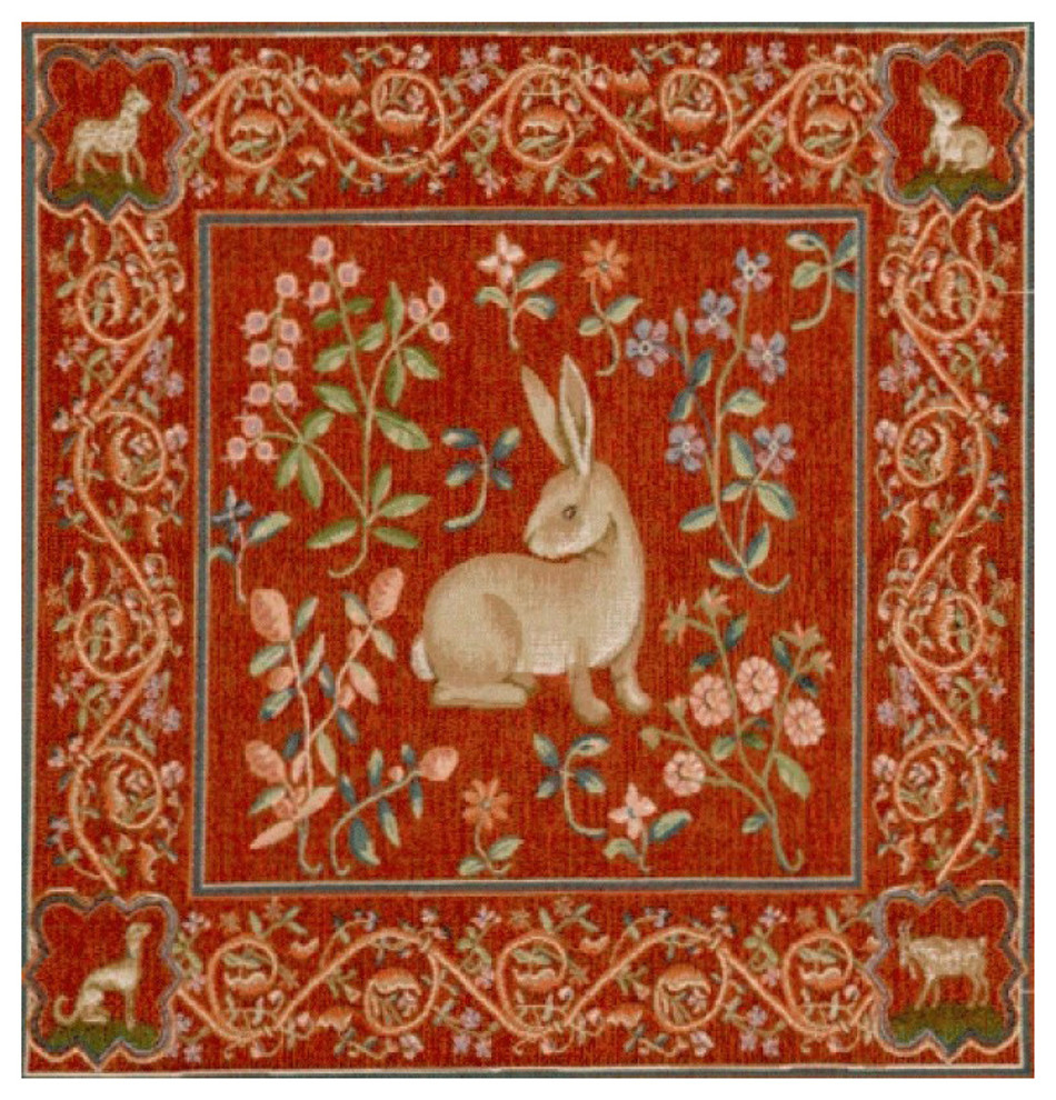 """Medieval Rabbit I European Cushion, Wall Tapestry, 19""""x19"""" Throughout Newest Birds Face To Face I European Tapestries (View 5 of 20)"""
