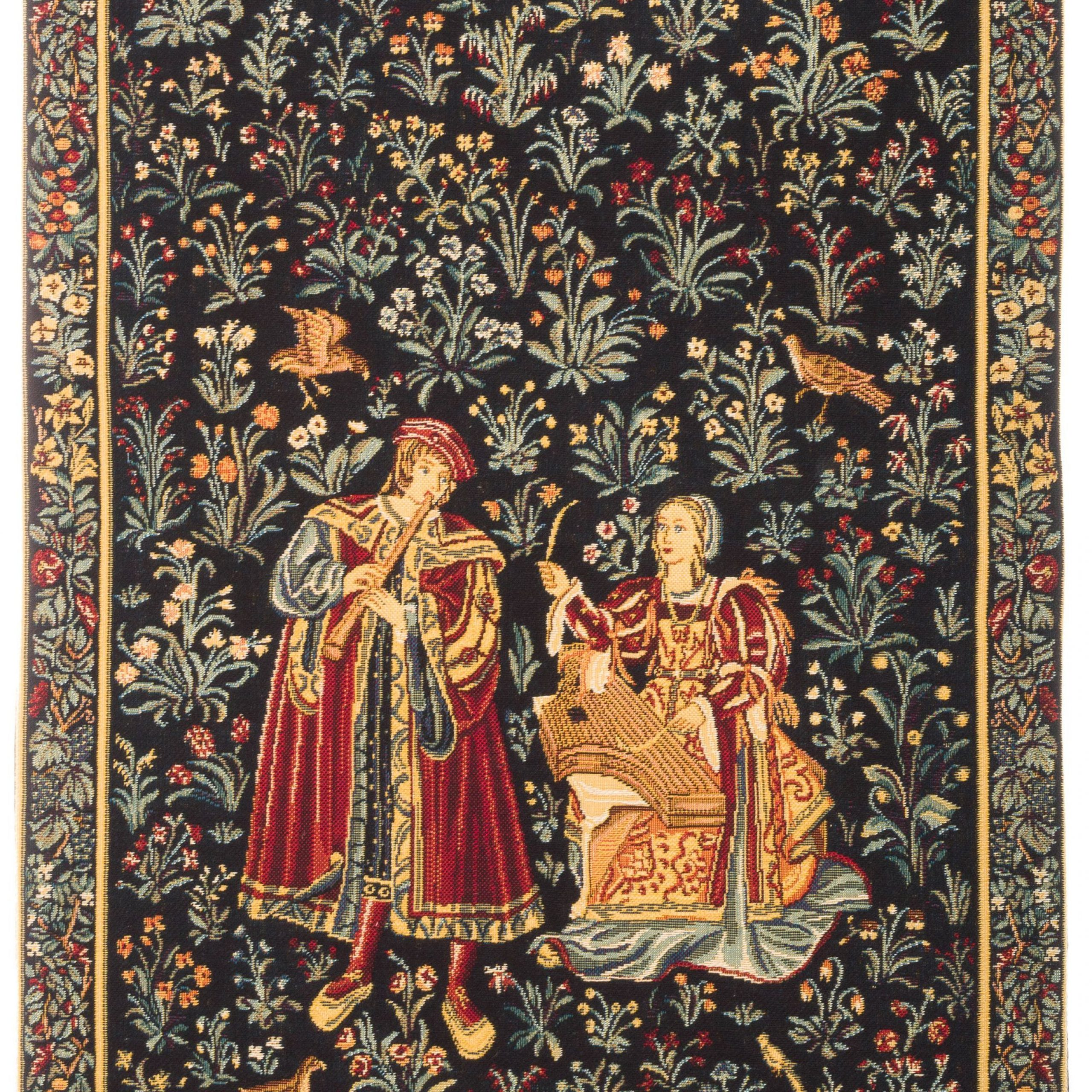 Medieval Tapestry Wall Hanging Concert Scene Millefleurs With Regard To Recent Blended Fabric Woodpecker European Tapestries (View 8 of 20)