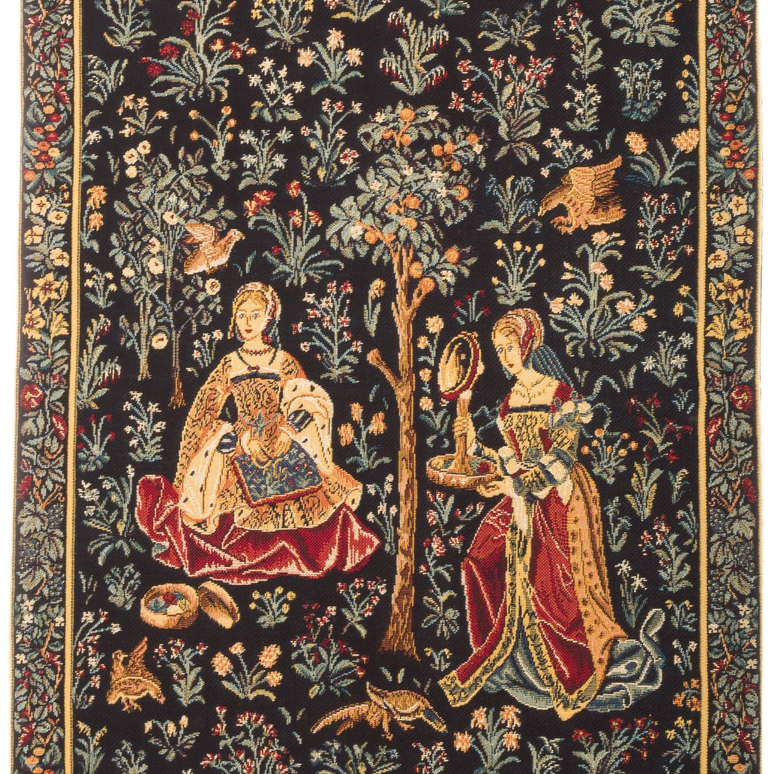 Medieval Tapestry Wall Hanging – Embroidery Scene Regarding 2017 Birds Face To Face I European Tapestries (View 4 of 20)