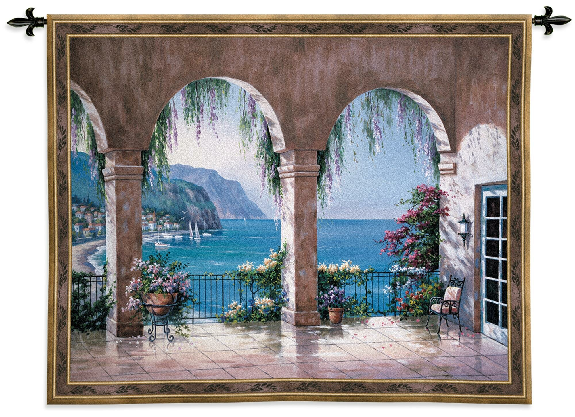 Mediterranean Arch Tapestry Inside 2018 Blended Fabric Autumn Tranquility Verse Wall Hangings (View 10 of 20)