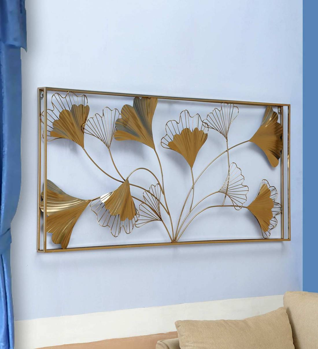 Metal Leaf Panel In Golden Wall Art Intended For Most Popular Blended Fabric Leaves Wall Hangings (View 12 of 20)