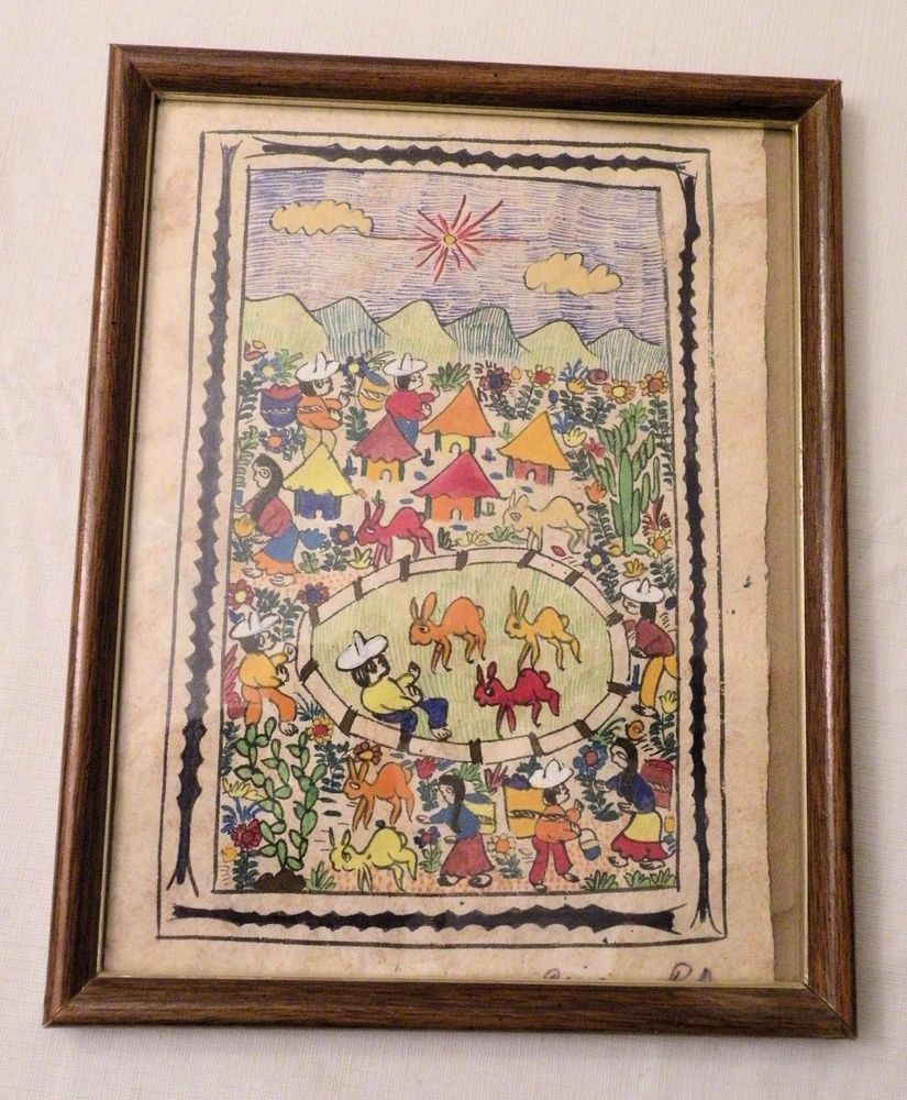 """Mexican Folk Art Amate Bark Painting, Signed, 12"""" X 8 Within Latest Blended Fabric The Mulberry Tree – Van Gogh Wall Hangings (View 13 of 20)"""