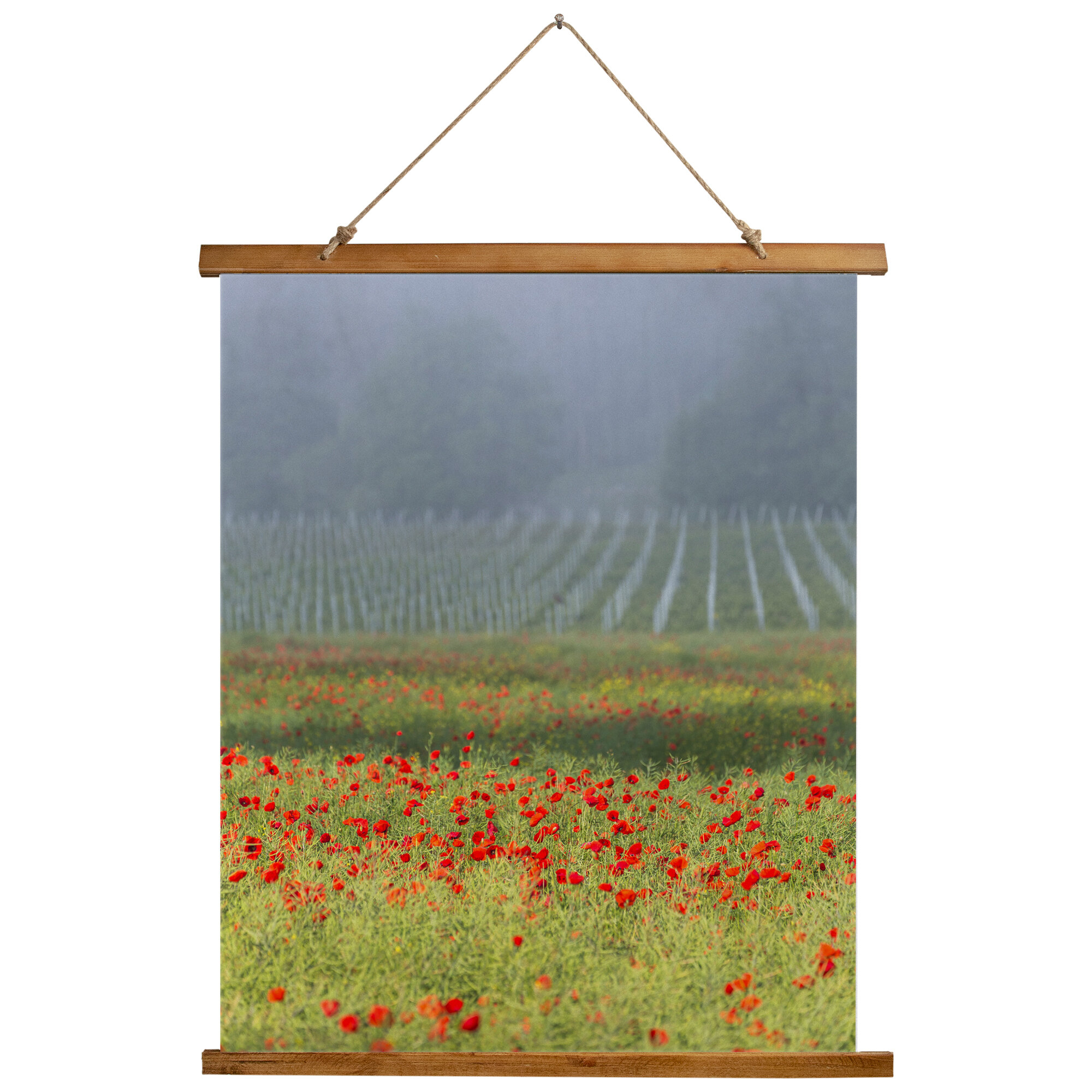 Microfiber Poppies Tapestry Intended For Current Blended Fabric Living Life Bell Pull Wall Hangings (View 12 of 20)