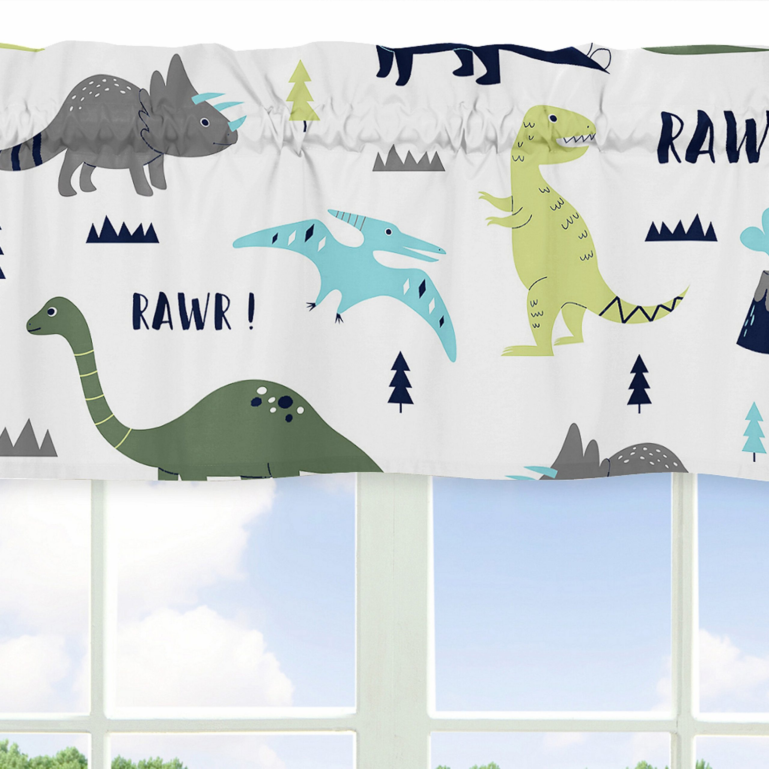 """Mod Dinosaur 54"""" Window Valance Pertaining To Best And Newest Blended Fabric Mod Dinosaur 3 Piece Wall Hangings Set (View 6 of 20)"""