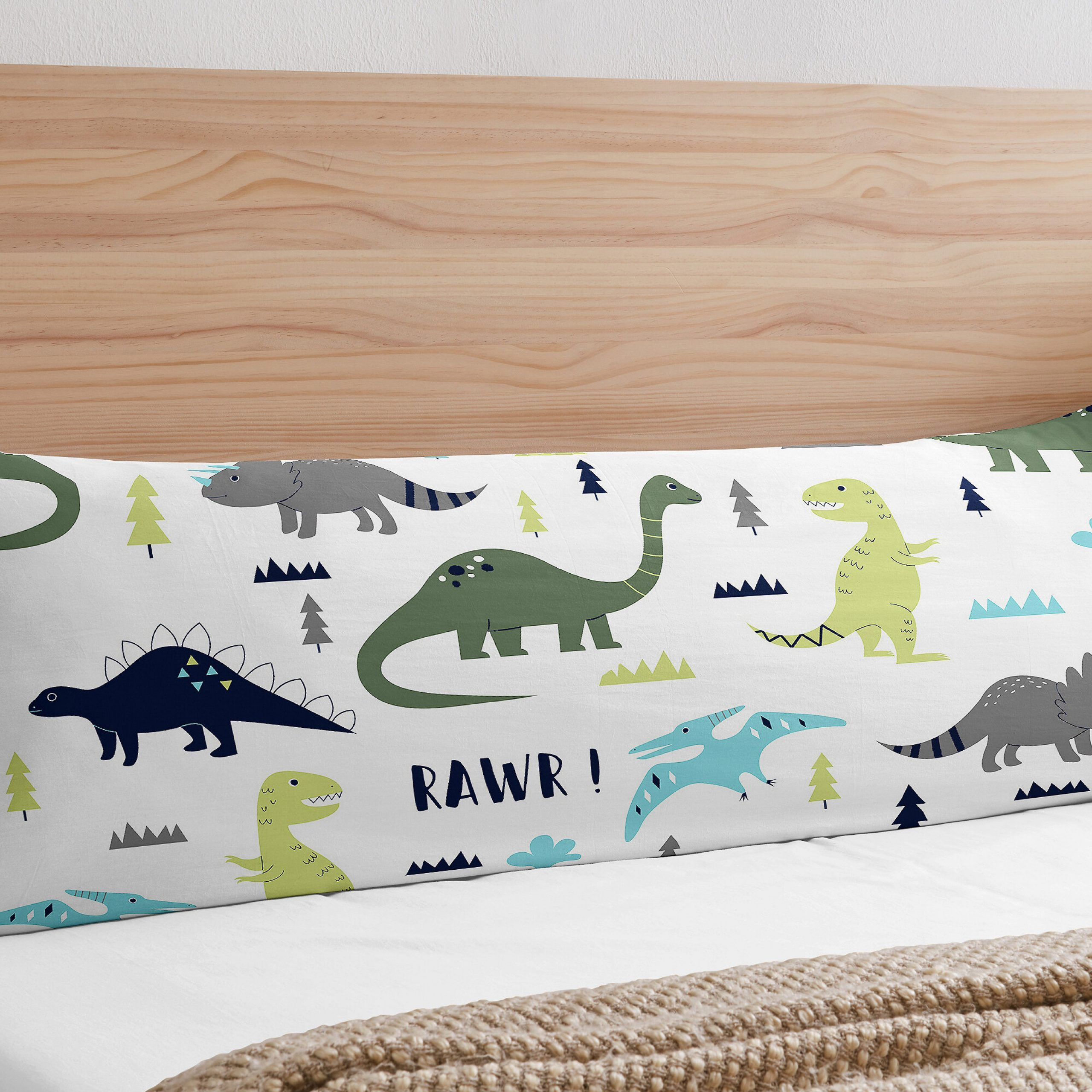 Mod Dinosaur Body Pillow Case In Most Current Blended Fabric Mod Dinosaur 3 Piece Wall Hangings Set (View 10 of 20)