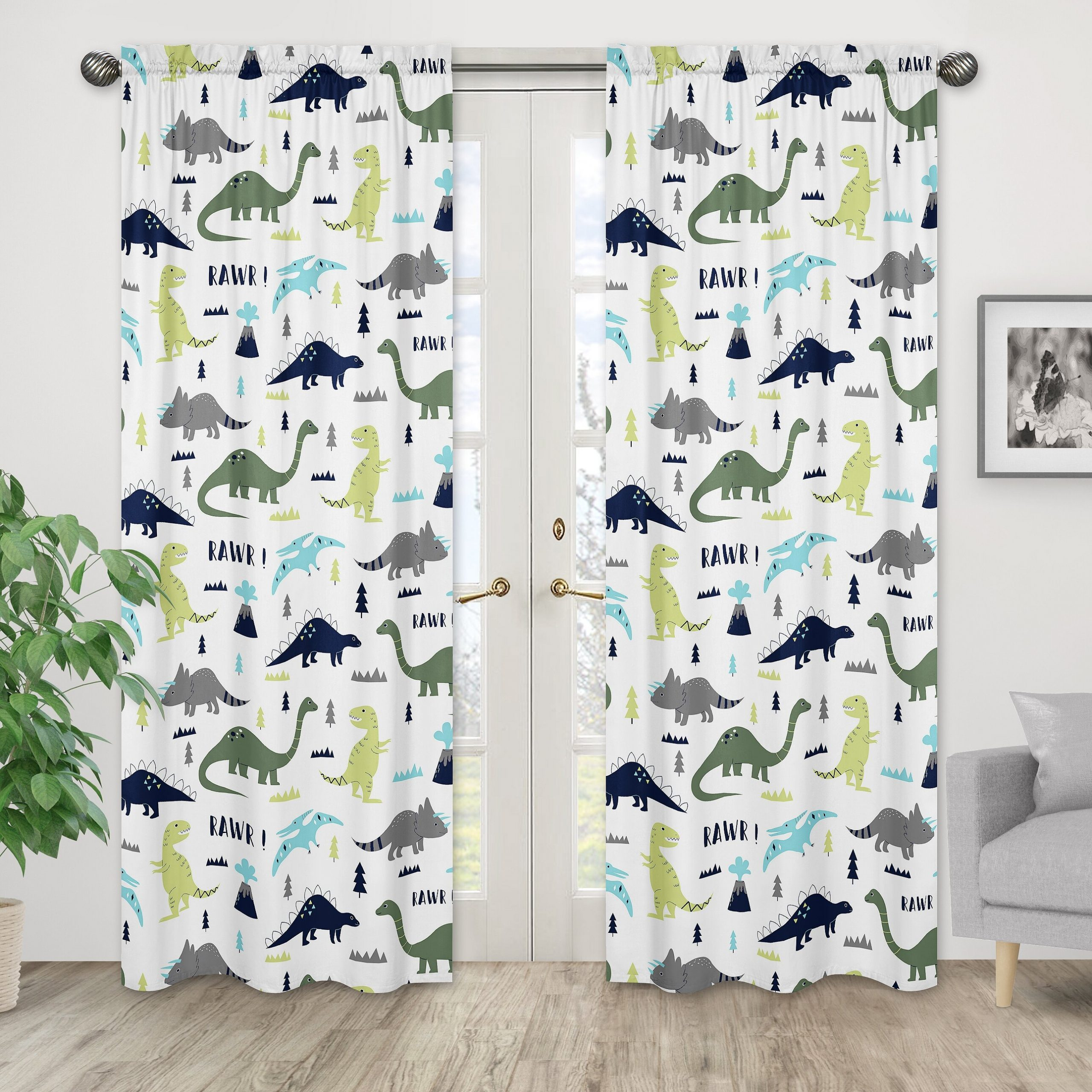 Mod Dinosaur Wildlife Semi Opaque Rod Pocket Curtain Panels With Recent Blended Fabric Mod Dinosaur 3 Piece Wall Hangings Set (View 4 of 20)