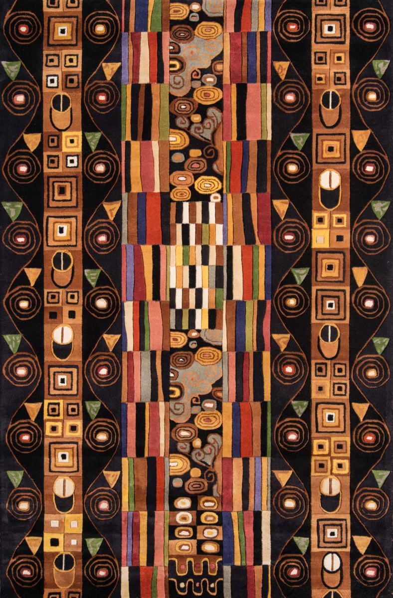 Momeni New Wave Nw 33 Black Area Rug | Contemporary Area With Regard To Newest Blended Fabric Klimt Tree Of Life Wall Hangings (View 17 of 20)