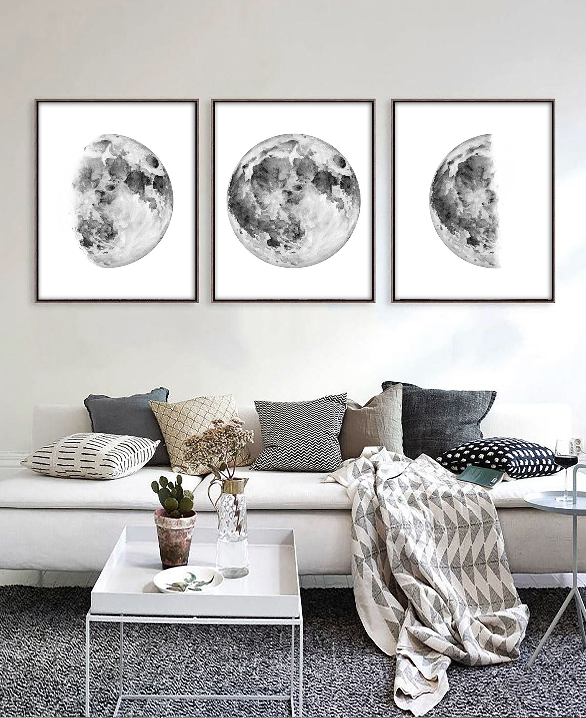 Moon Wall Art Moon Decor Space Wall Art Dining Room Wall With Most Up To Date Blended Fabric Celestial Wall Hangings (set Of 3) (View 7 of 20)