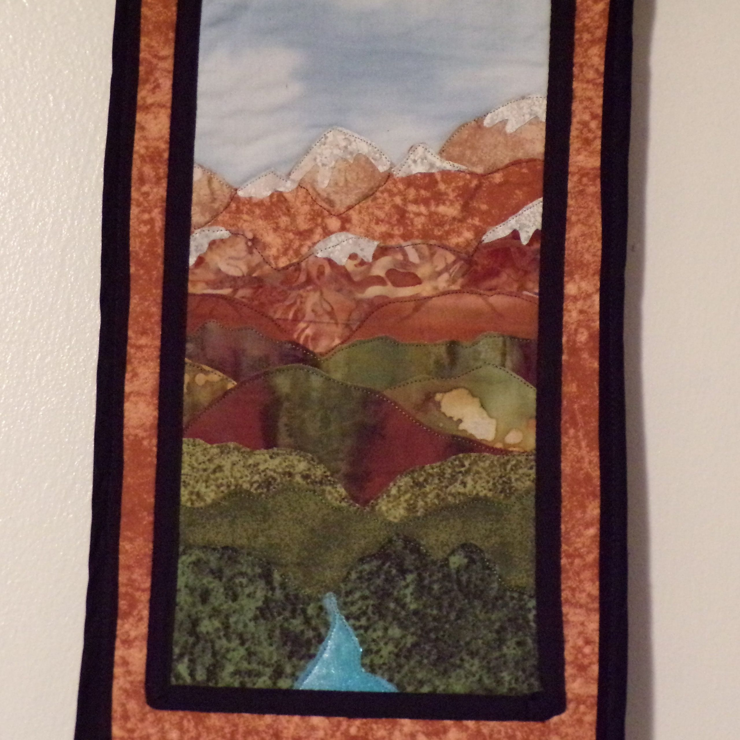 Mountain Stream – Appliqued Wall Hanging – Handmade With 2018 Blended Fabric Pastel Tree Of Life Wall Hangings (View 9 of 20)