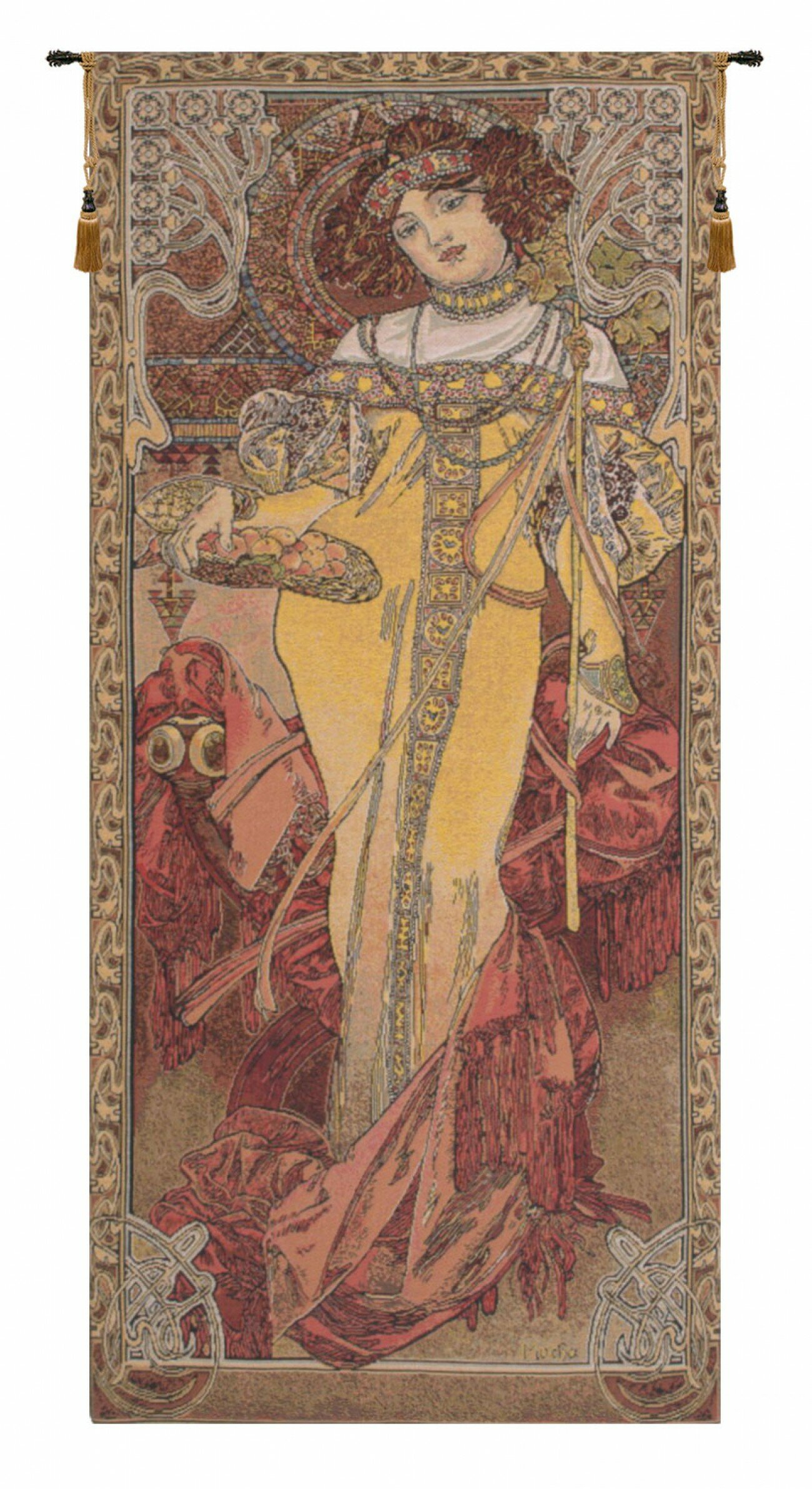 Mucha Autumn European Wall Hanging Inside Recent Blended Fabric Woodpecker European Tapestries (View 12 of 20)