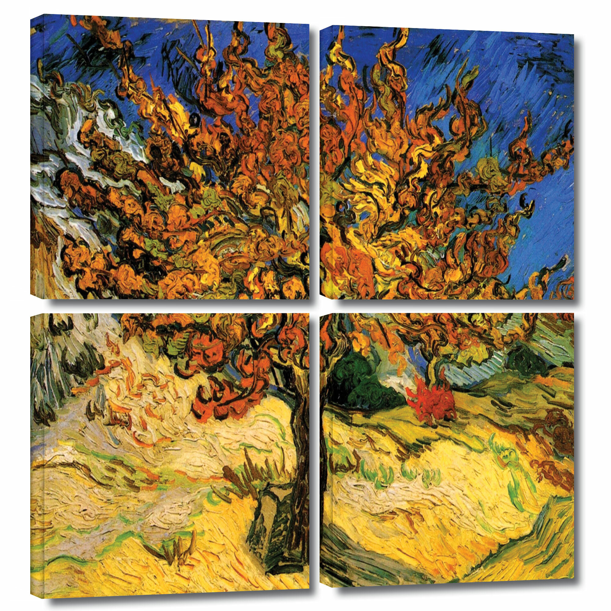 'mulberry Tree'vincent Van Gogh 4 Piece Painting Print On Wrapped Canvas Set Throughout Current Blended Fabric The Mulberry Tree – Van Gogh Wall Hangings (View 9 of 20)