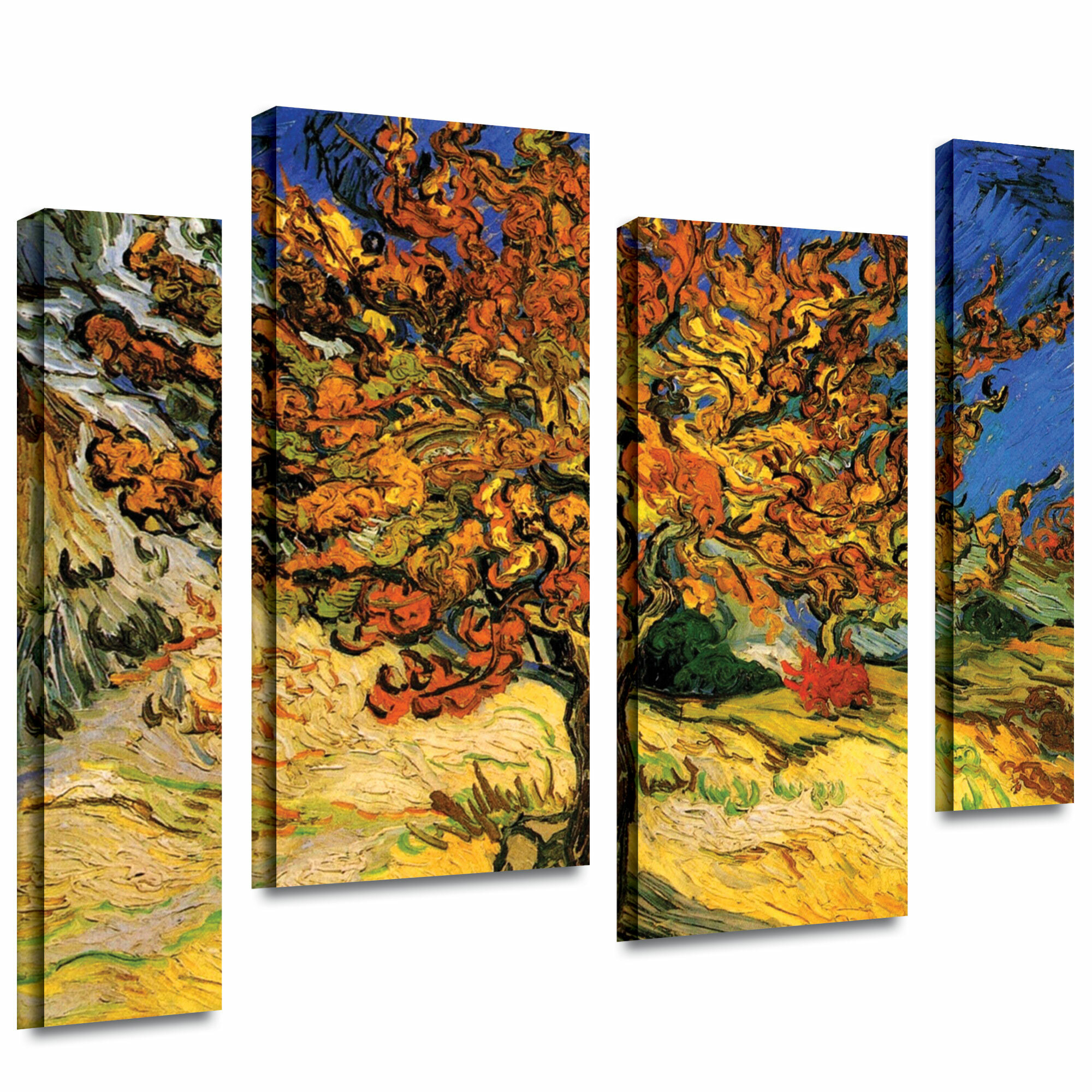 'mulberry Tree'vincent Van Gogh 4 Piece Painting Print On Wrapped Canvas Set With Regard To Latest Blended Fabric The Mulberry Tree – Van Gogh Wall Hangings (View 11 of 20)