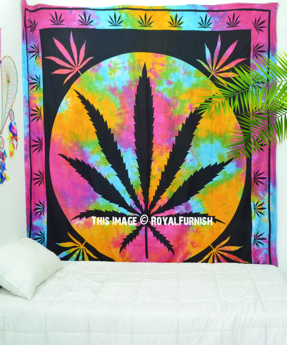 Multi Hempest Marijuana Leaf Bohemian Cannabis Weed Tapestry Wall Hanging With Most Current Blended Fabric Leaves Wall Hangings (View 11 of 20)