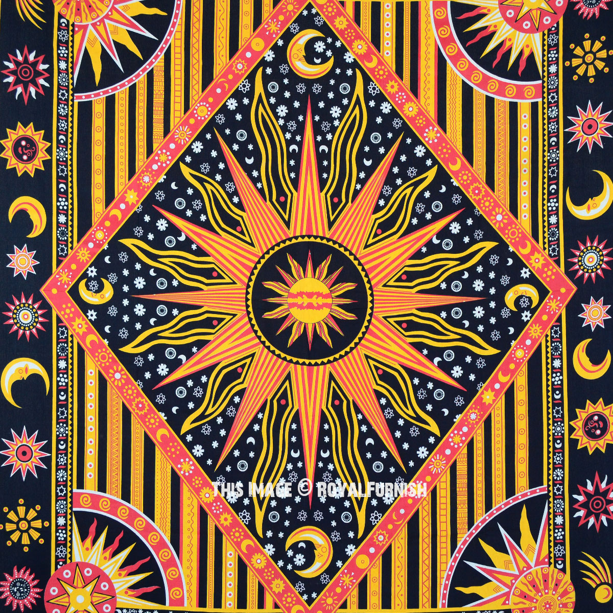 Multicolor Celestial Sun Moon & Planets Tapestry Wall Hanging Throw  Bedspread Bedding In Newest Blended Fabric Celestial Wall Hangings (set Of 3) (View 15 of 20)