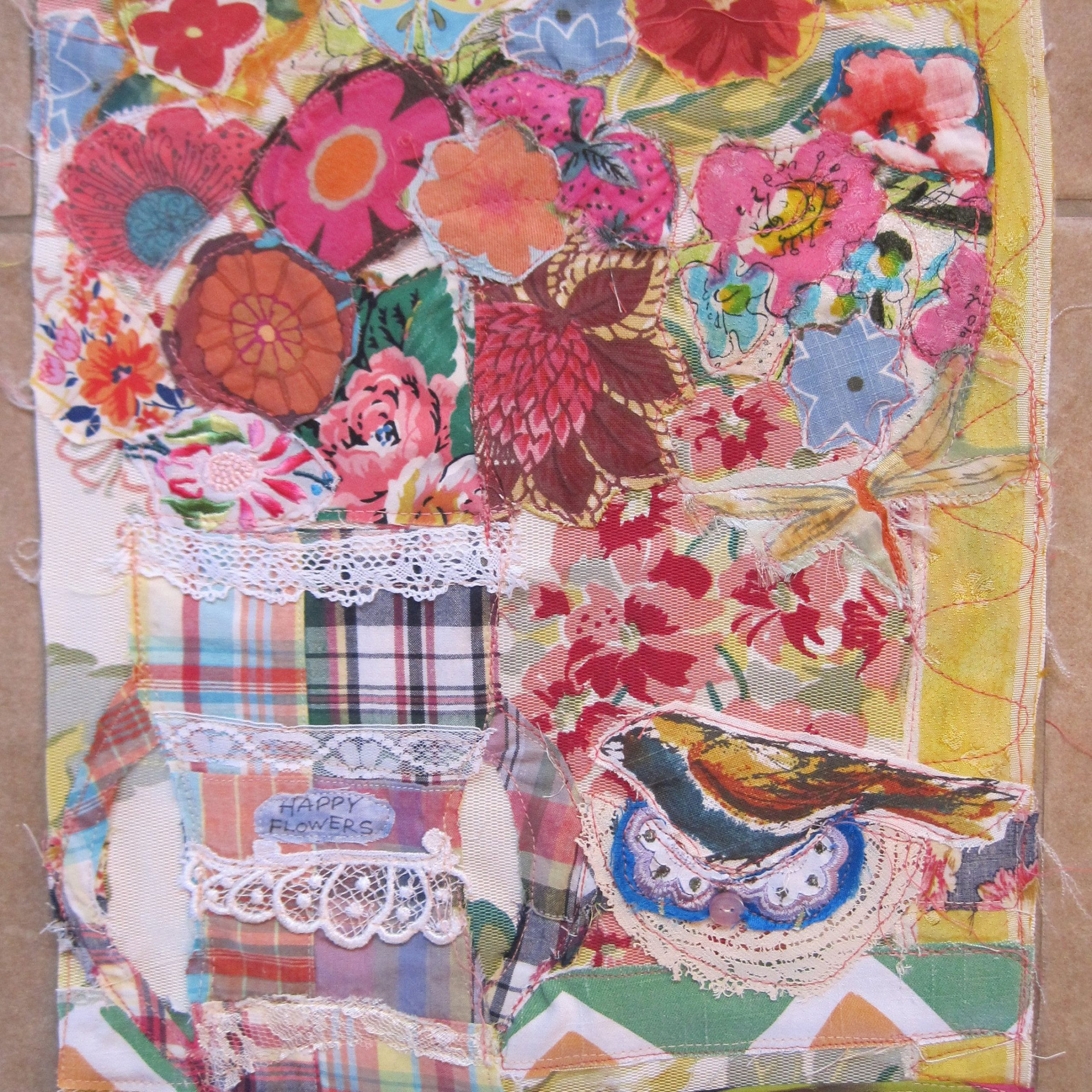 My Bonny Happy Flowers Bird Butterfly – Folk Art Fabric With Regard To Most Recently Released Blended Fabric Amazing Grace Wall Hangings (View 15 of 20)