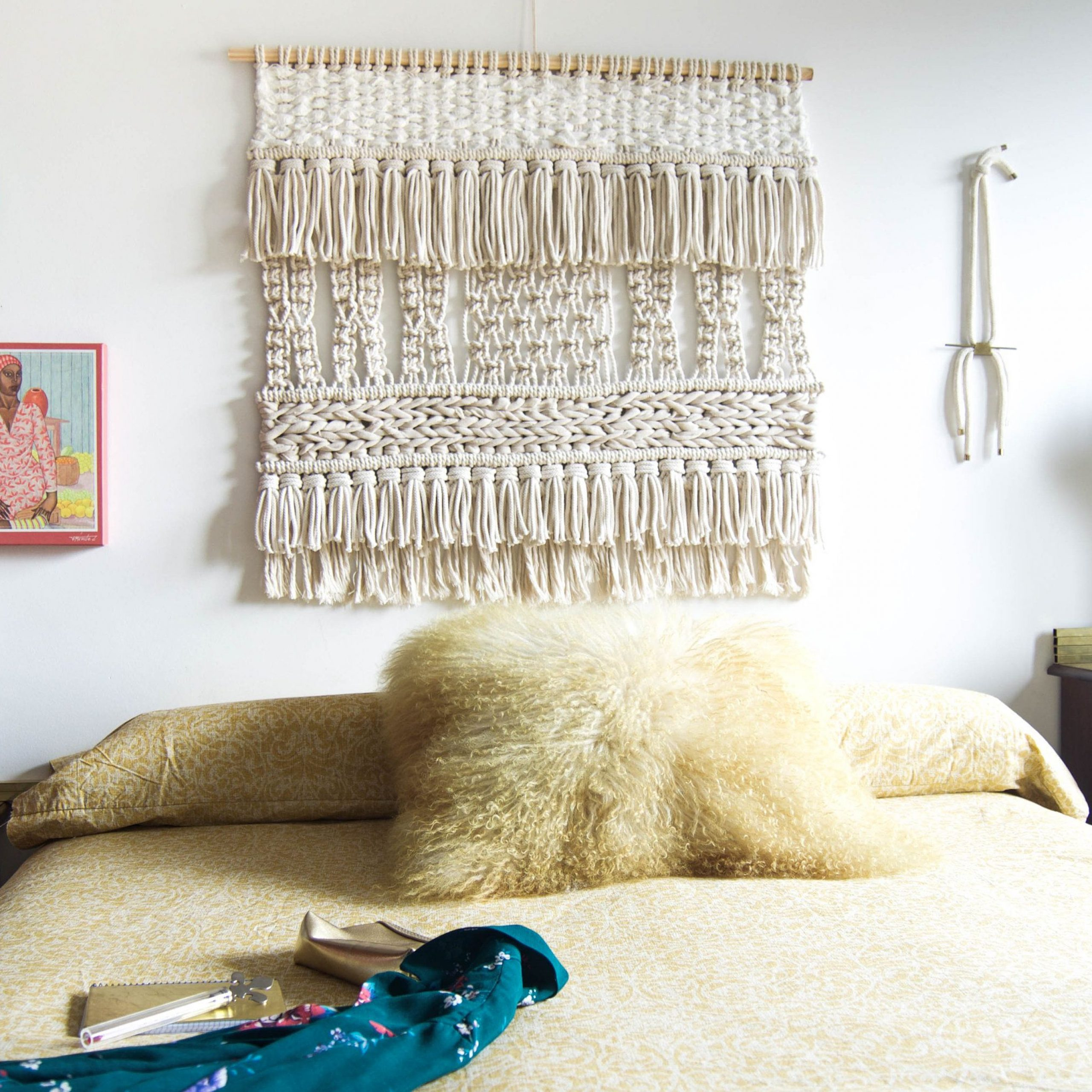 Neutral Tropical Macrame Wall Artranran Design Pertaining To 2018 Blended Fabric Trust In The Lord Tapestries And Wall Hangings (View 4 of 20)