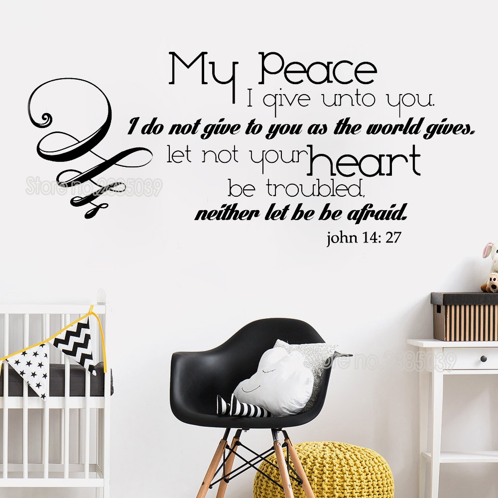 New John 14:27 Quotes Wall Stickers Home Decor My Peace I Give To You Scripture Wall Decal Inspirational Saying 3d Posters Lc745 Regarding 2017 Peace I Leave With You Wall Hangings (View 8 of 20)