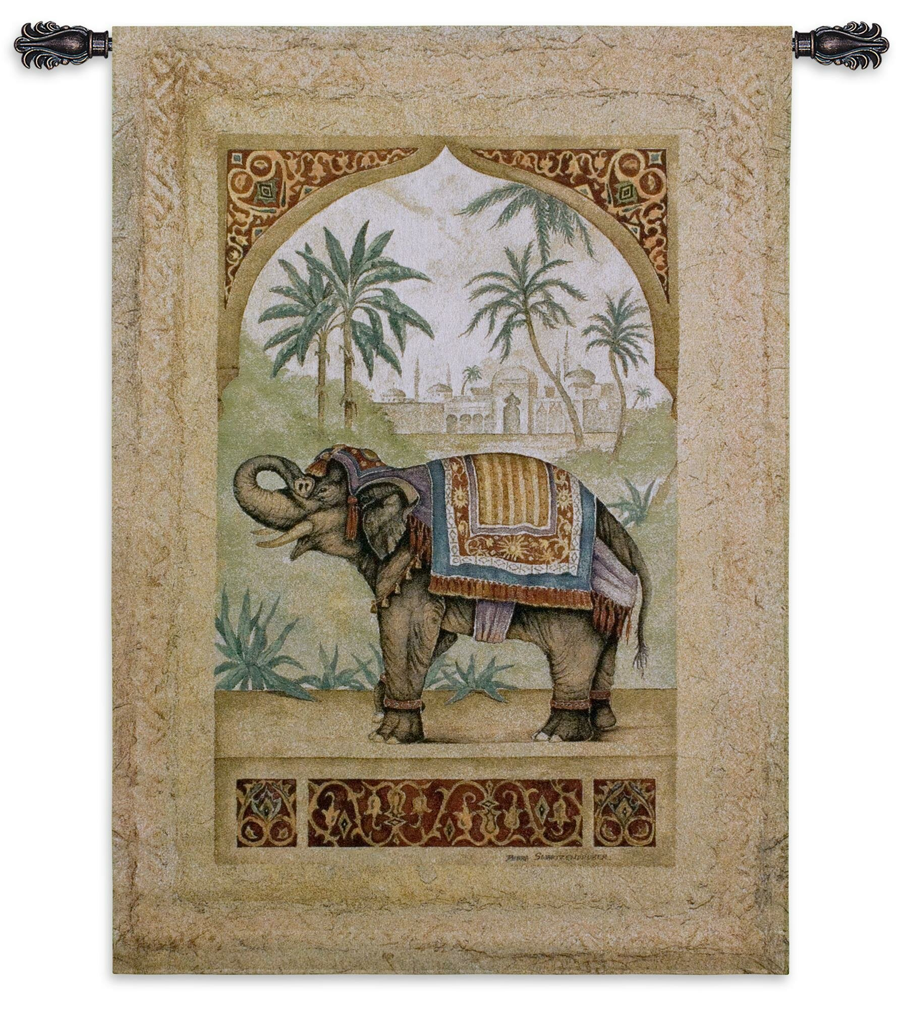 Old World Elephant Ii Tapestry For Most Current Blended Fabric Unicorn In Captivity Ii (with Border) Wall Hangings (View 3 of 20)