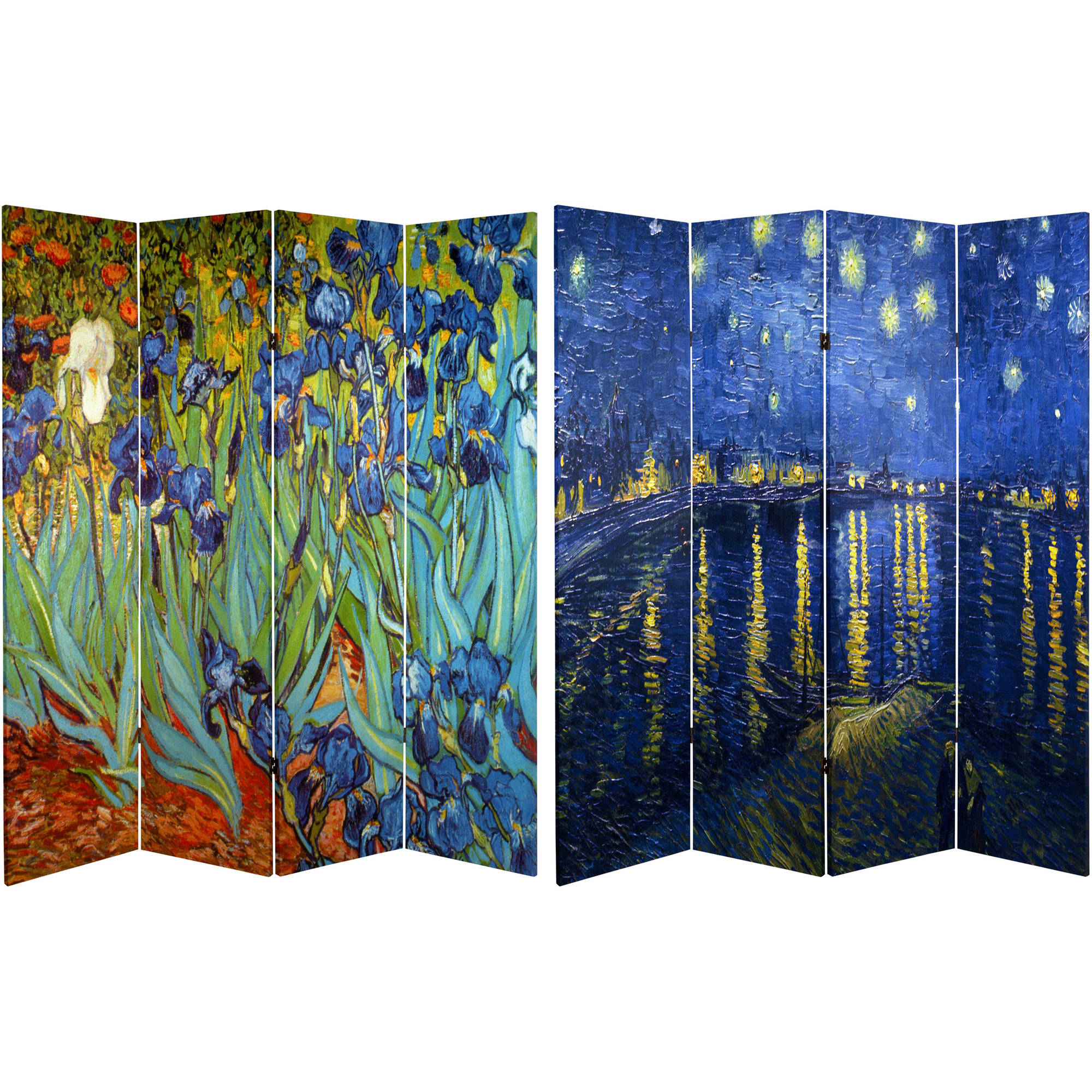 Oriental Furniture 6 Ft Tall Double Sided Works Of Van Gogh Canvas Room Divider, 4 Panel – Walmart Intended For Most Recently Released Blended Fabric Van Gogh Terrace Wall Hangings (View 17 of 20)