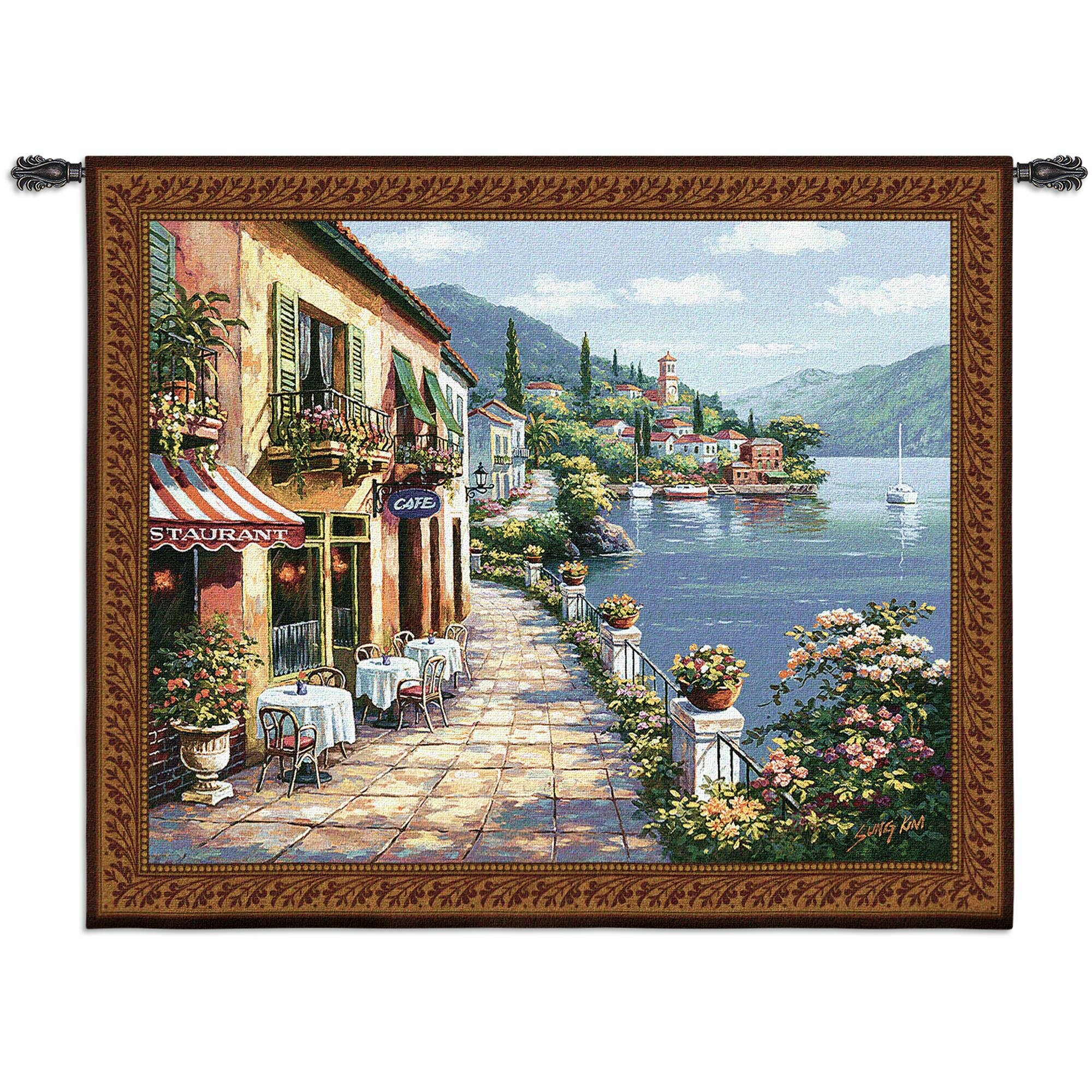 Overlook Cafe I Bw Tapestry For Most Up To Date Blended Fabric Bellagio Scalinata Wall Hangings (View 8 of 20)