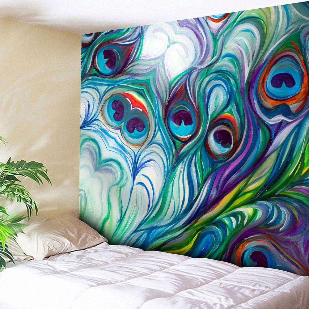 Peacock Feather Pattern Wall Hanging Tapestry | Peacock Wall Pertaining To Latest Blended Fabric Peacock European Tapestries (View 7 of 20)