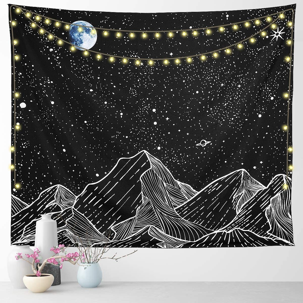 Polyester Constellations Tapestry Intended For Most Up To Date Blended Fabric Living Life Tapestries (View 7 of 20)