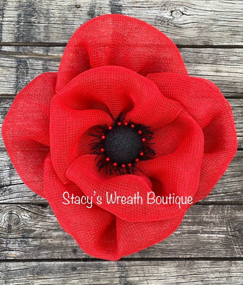 Poppy Flower Wreath For Front Door, Summer Wreath, Farmhouse Throughout Best And Newest Blended Fabric Poppy Red Wall Hangings (View 7 of 20)