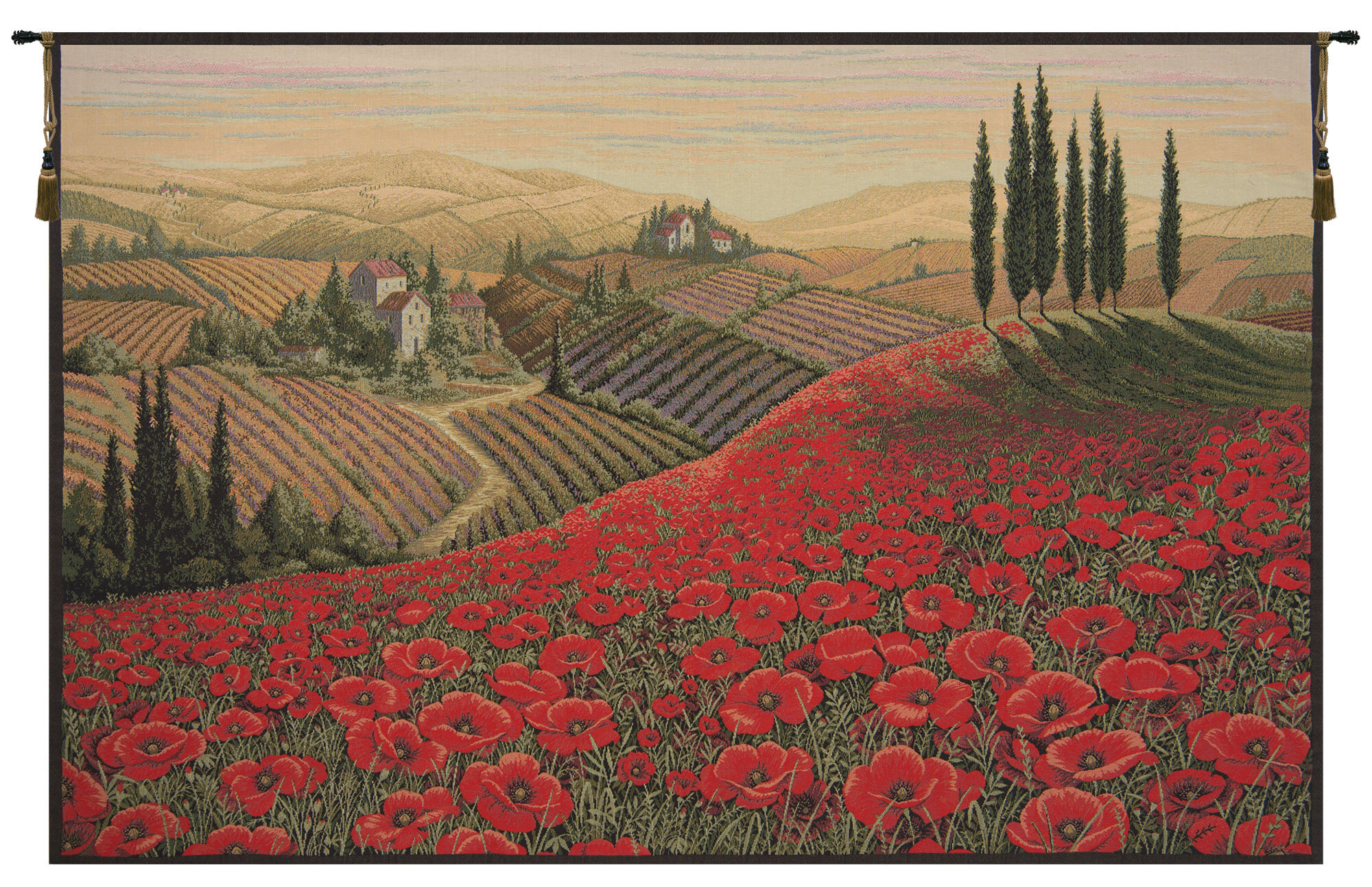 Poppy Landscape Wall Hanging Throughout Current Blended Fabric Poppy Red Wall Hangings (View 5 of 20)