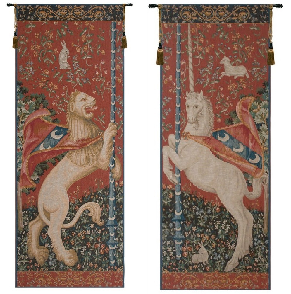 Portiere Licorne And Lion French Wall Tapestries Regarding Most Recently Released Lion I European Tapestries (View 15 of 20)