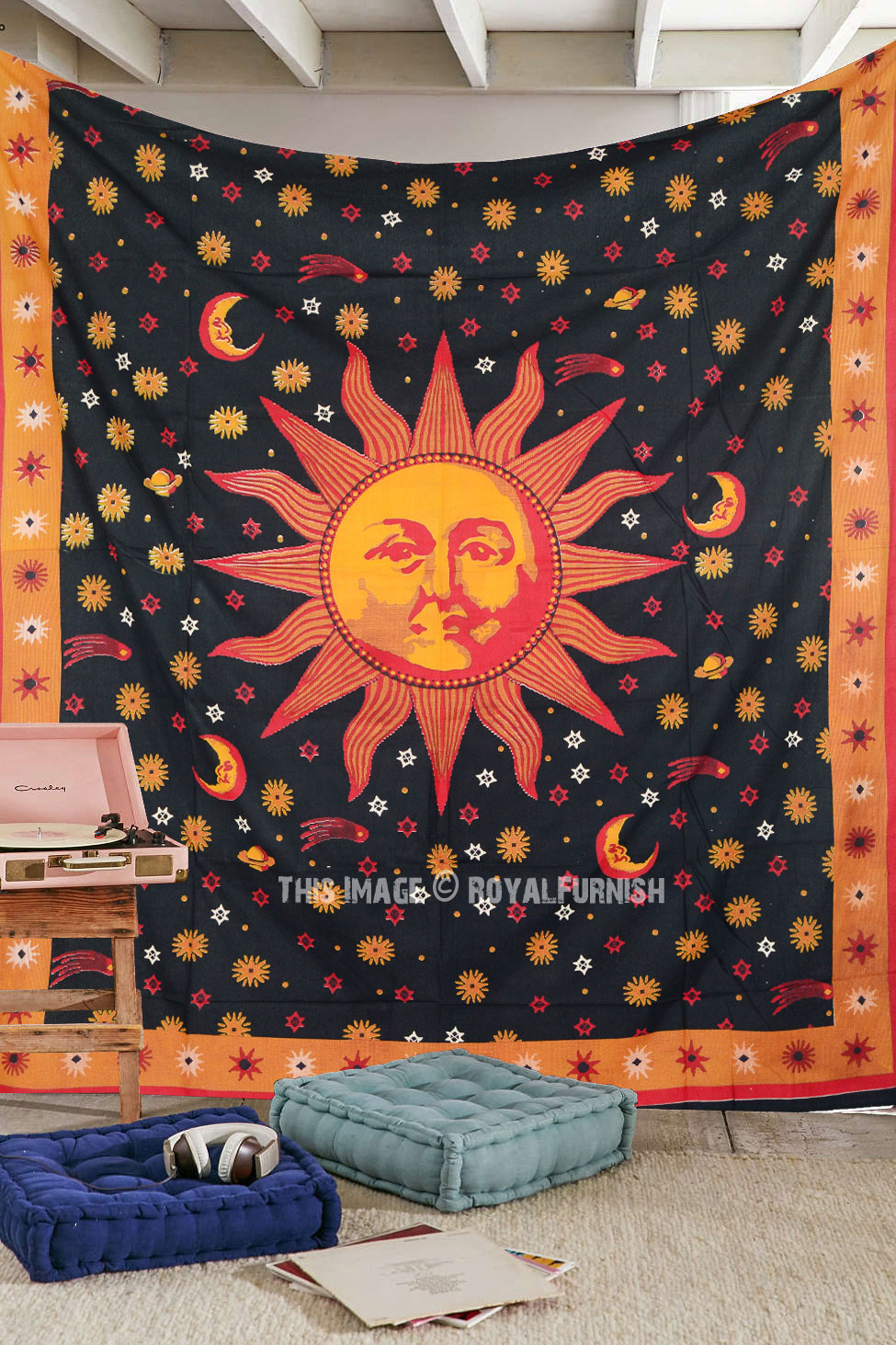 Psychedelic Celestial Black Sun Moon Tapestry Wall Hanging For Most Up To Date Blended Fabric Celestial Wall Hangings (set Of 3) (View 17 of 20)