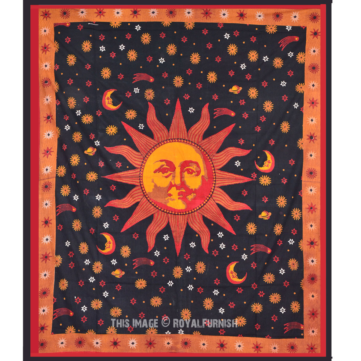 Psychedelic Celestial Black Sun Moon Tapestry Wall Hanging Intended For 2018 Blended Fabric Celestial Wall Hangings (set Of 3) (View 5 of 20)