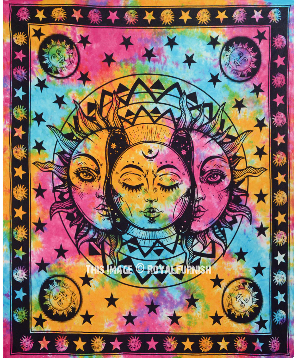 Psychedelic Sun & Moon Celestial Energy Mystic Art Printed Tapestry Wall  Hanging Inside Latest Blended Fabric Celestial Wall Hangings (set Of 3) (View 3 of 20)