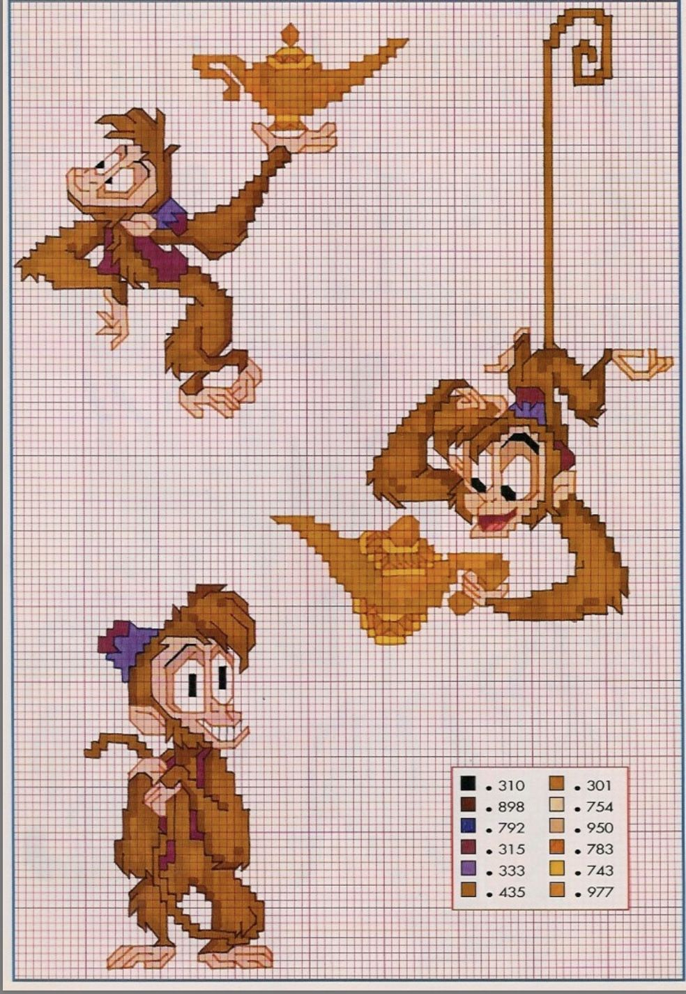 Puntocroce #schema #disney #aladdin #abu #schemadisney With Regard To Most Current Blended Fabric Aladin European Wall Hangings (View 3 of 20)