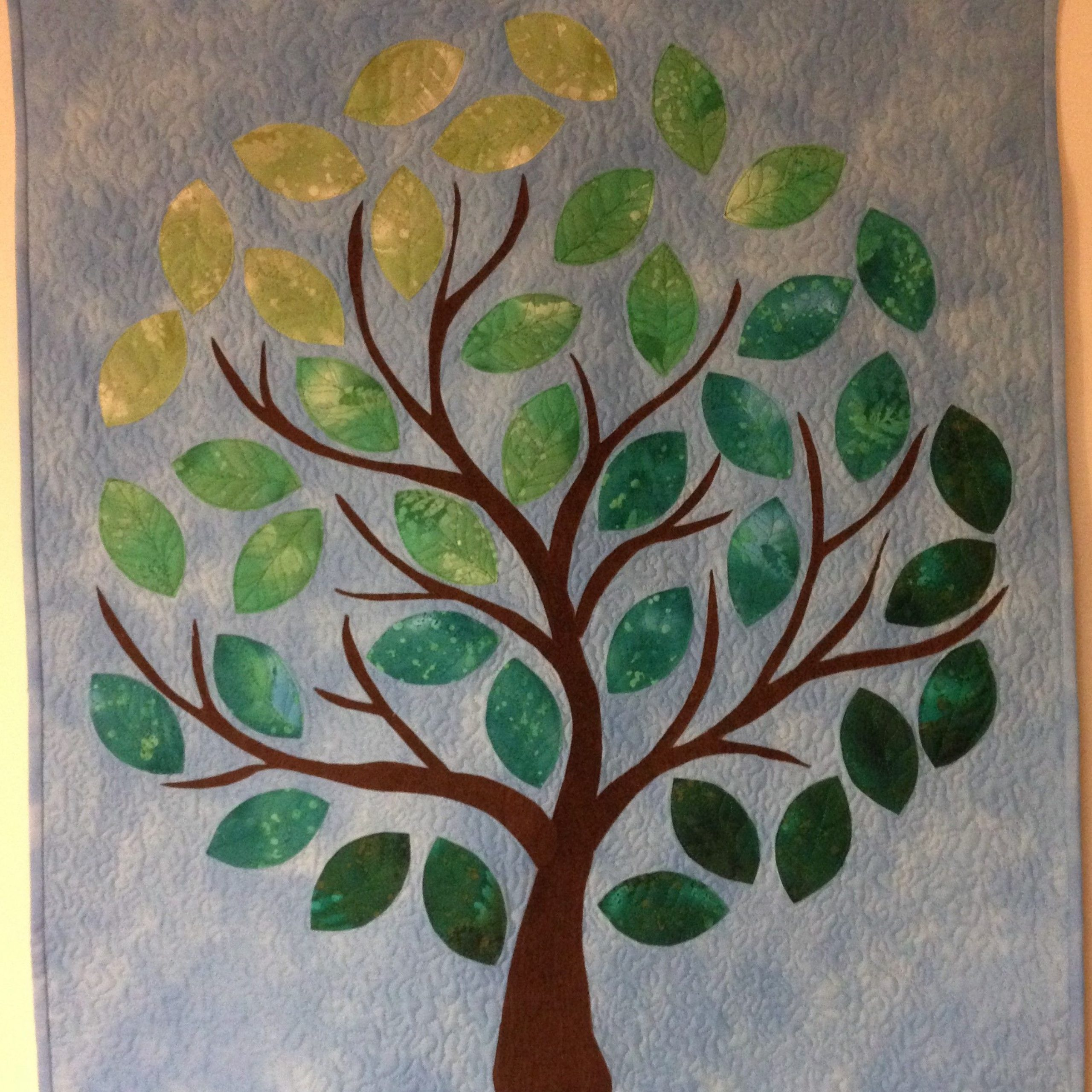 Quilted And Applique Tree Wall Hanging 2017 | Family Tree In Current Blended Fabric Pastel Tree Of Life Wall Hangings (View 6 of 20)