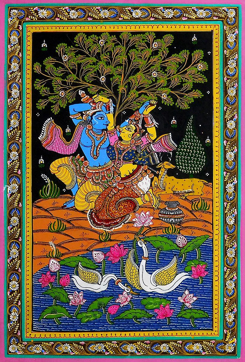 Radha Krishna – Patta Painting On Patti | Indian Art With Most Current Blended Fabric Secret Lovers Rendezvous Wall Hangings (View 4 of 20)
