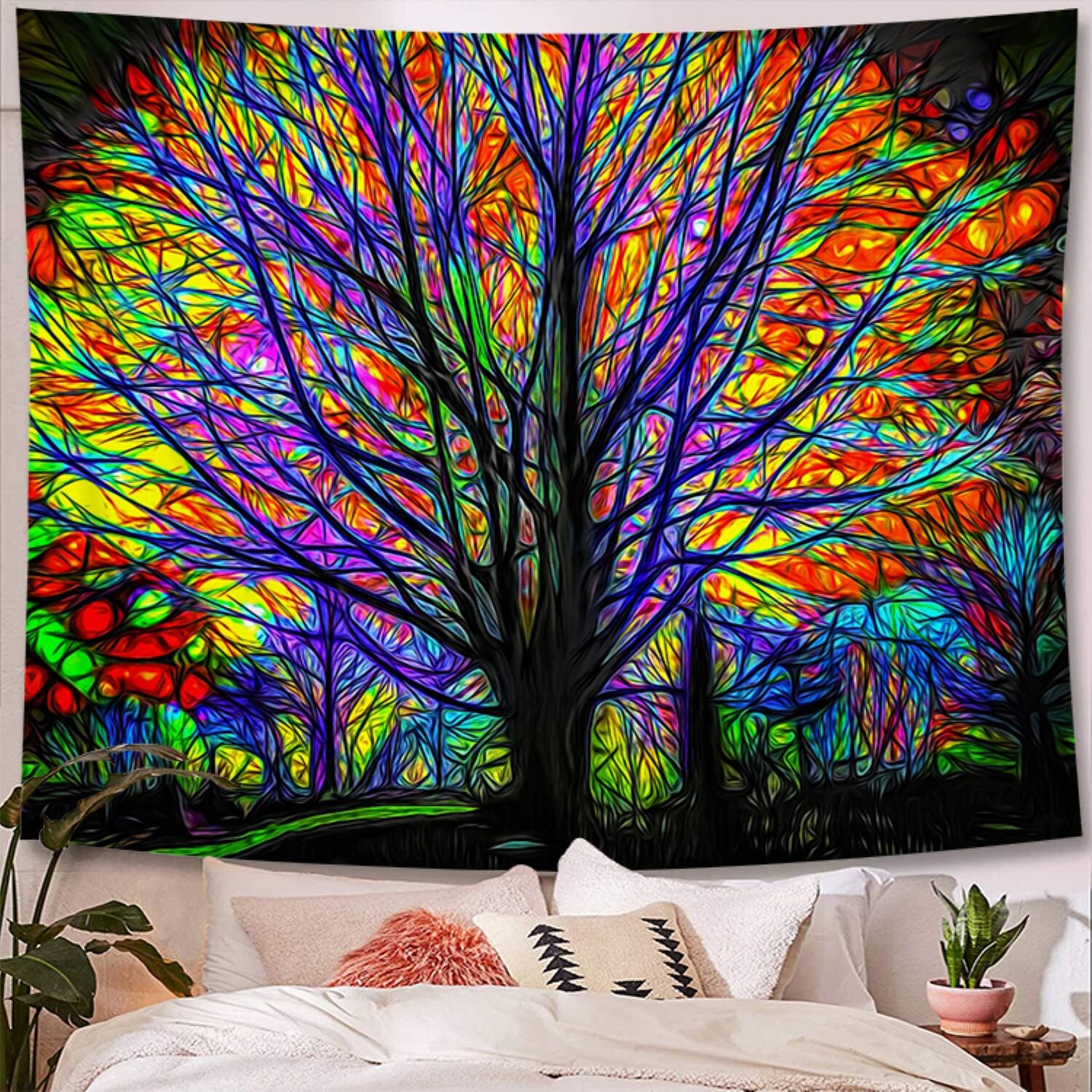 Rainbow Tree Polyester Tapestry With Hanging Accessories Included For Latest Blended Fabric Salty But Sweet Wall Hangings (View 8 of 20)