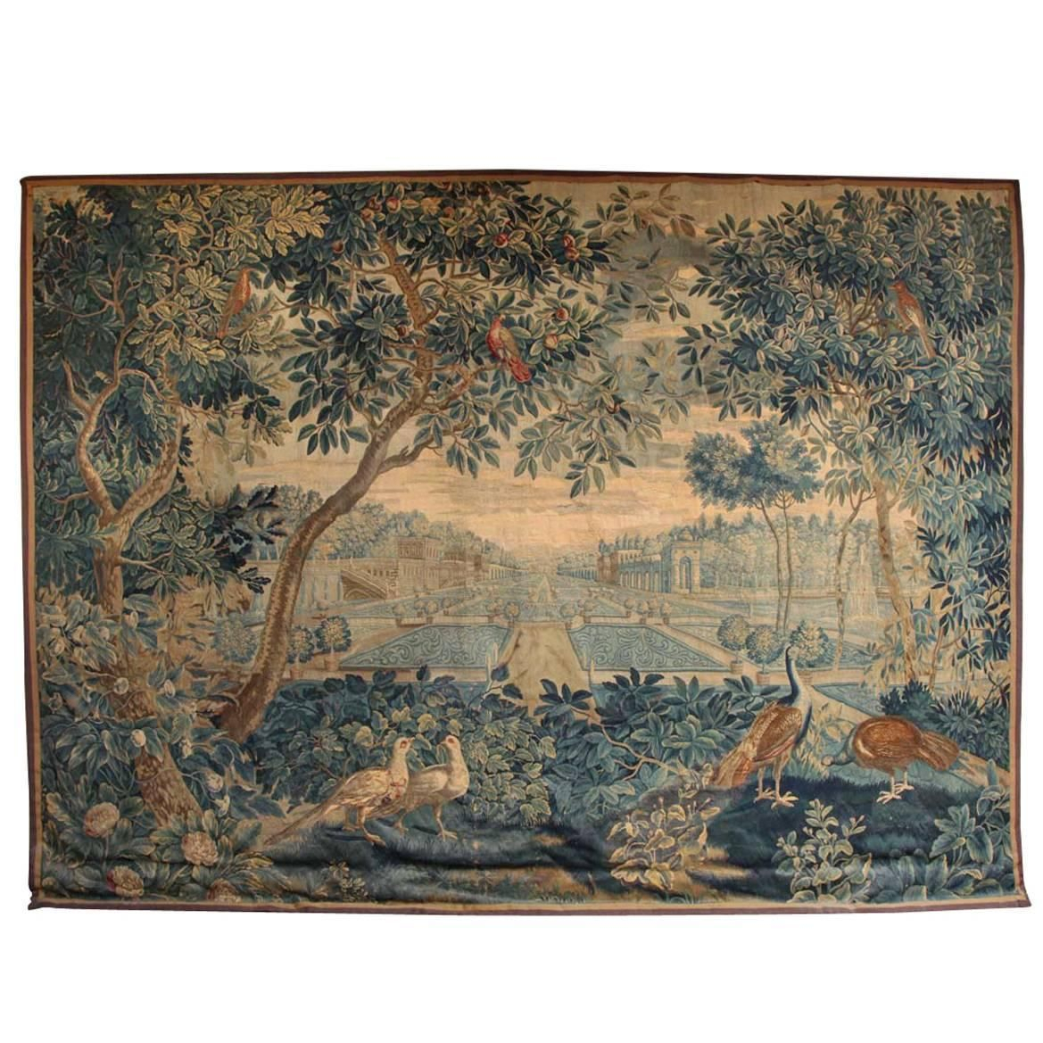 Rare 17th Century Brussels Tapestry With A View Of The Inside 2018 Blended Fabric Verdure Au Chateau Ii European Tapestries (View 5 of 20)