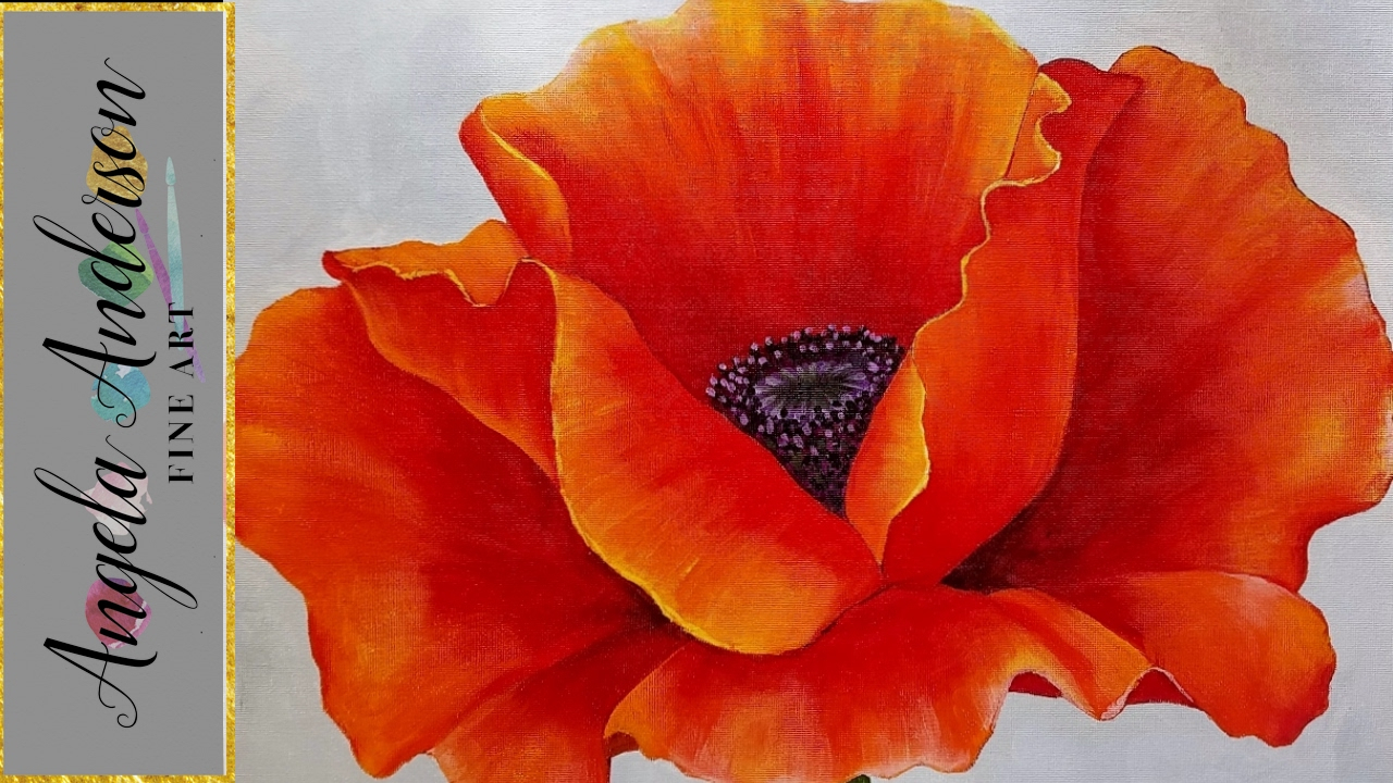 Red Poppy Acrylic Painting Georgia O'keeffe Inspired Tutorial Live Beginner Blending Lesson Pertaining To Most Current Blended Fabric Poppy Red Wall Hangings (View 17 of 20)