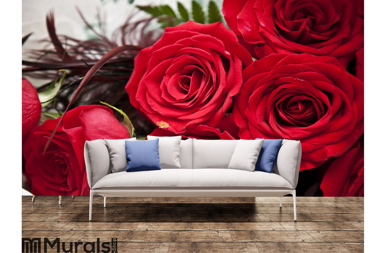 Red Roses Wall Mural In Best And Newest Roses I Tapestries (View 16 of 20)