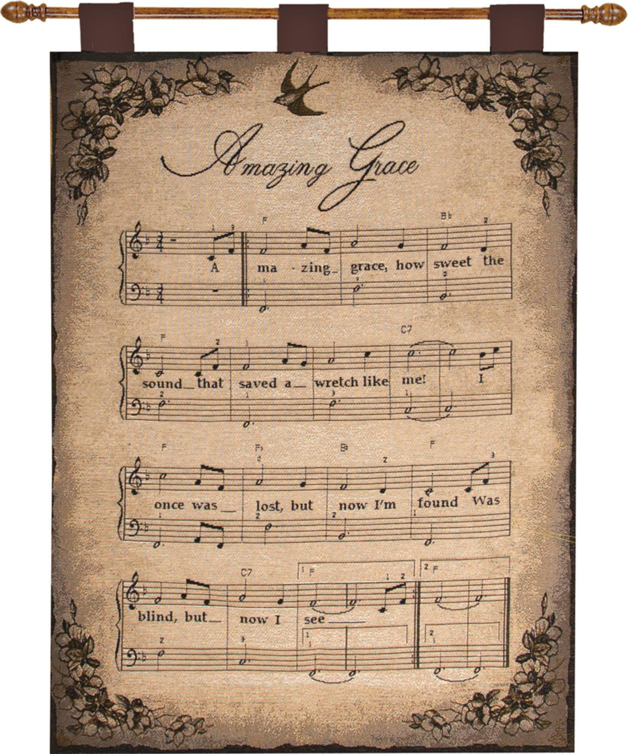 """Religious """"how Sweet The Sound"""" Wall Hanging Tapestry 26"""" X 36"""" – Walmart With Regard To Newest Blended Fabric Amazing Grace Wall Hangings (View 5 of 20)"""