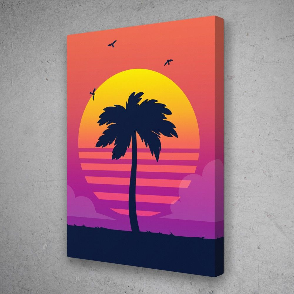 Retro Sunset Palm Tree Miami Pop Art Canvas Wall Art In 2021 Pertaining To Newest Blended Fabric Palm Tree Wall Hangings (View 18 of 20)